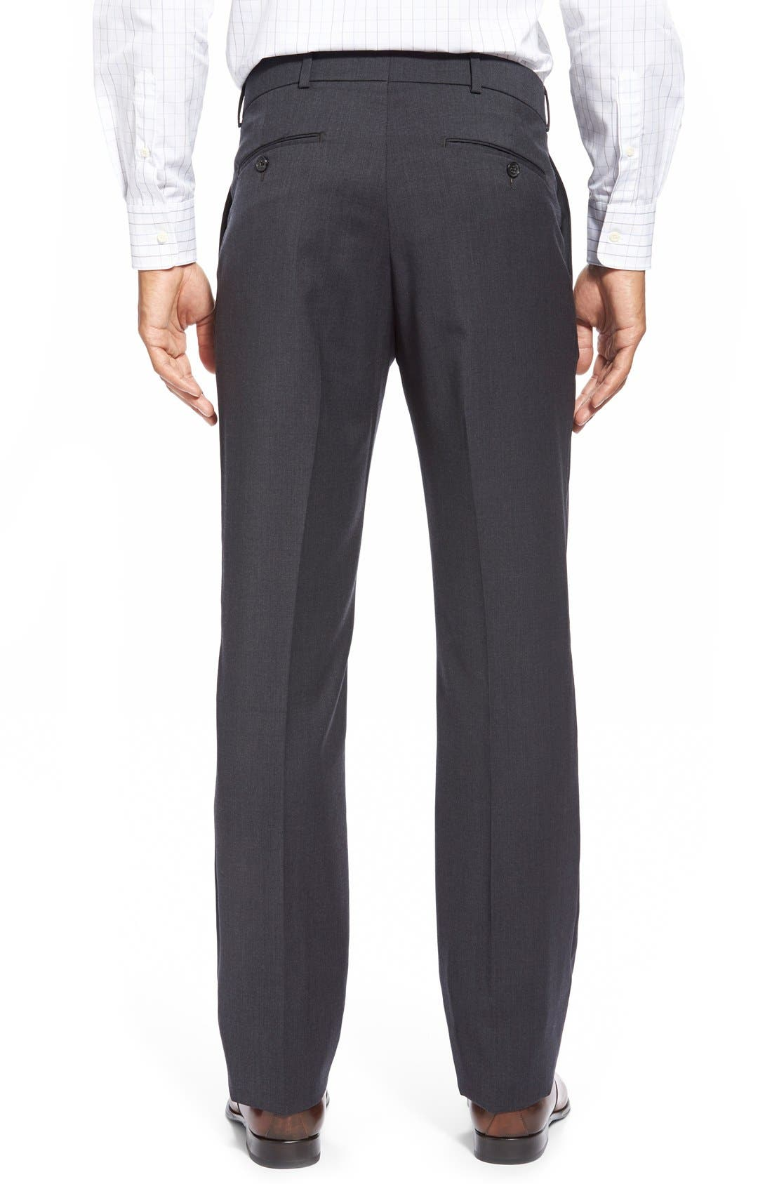 Flat Front Solid Wool Trousers,                             Alternate thumbnail 25, color,