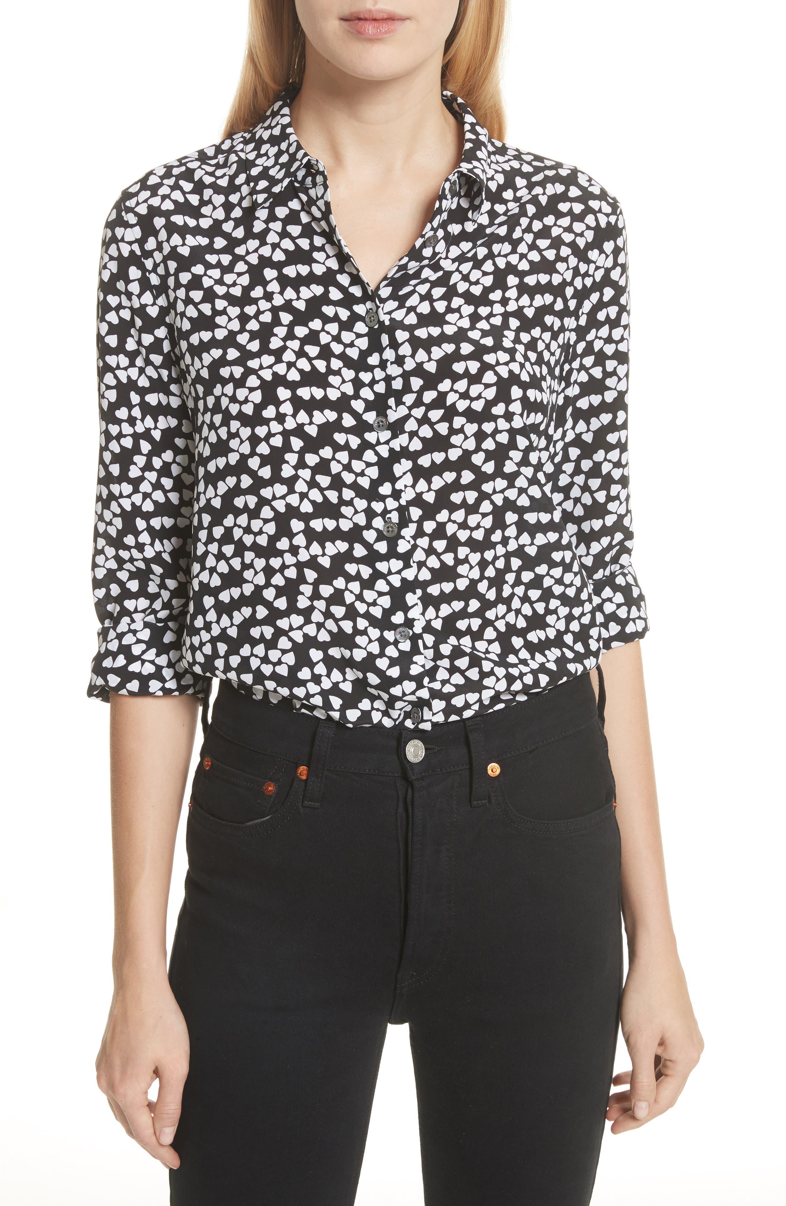 Essential Heart Print Silk Shirt,                             Main thumbnail 1, color,                             TRUE BLACK-BRIGHT WHITE