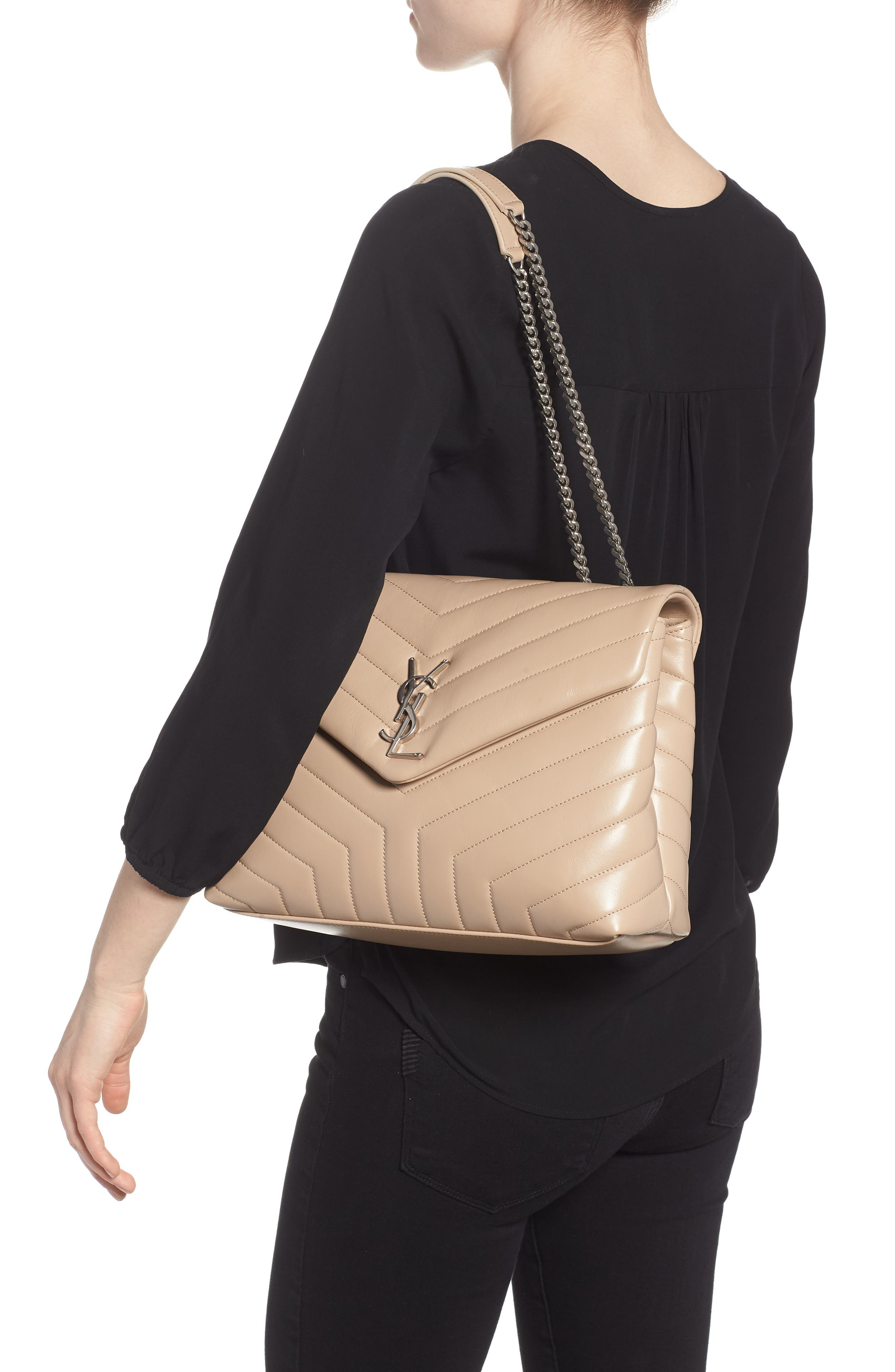Medium Loulou Matelassé Calfskin Leather Shoulder Bag,                             Alternate thumbnail 2, color,                             LIGHT NATURAL