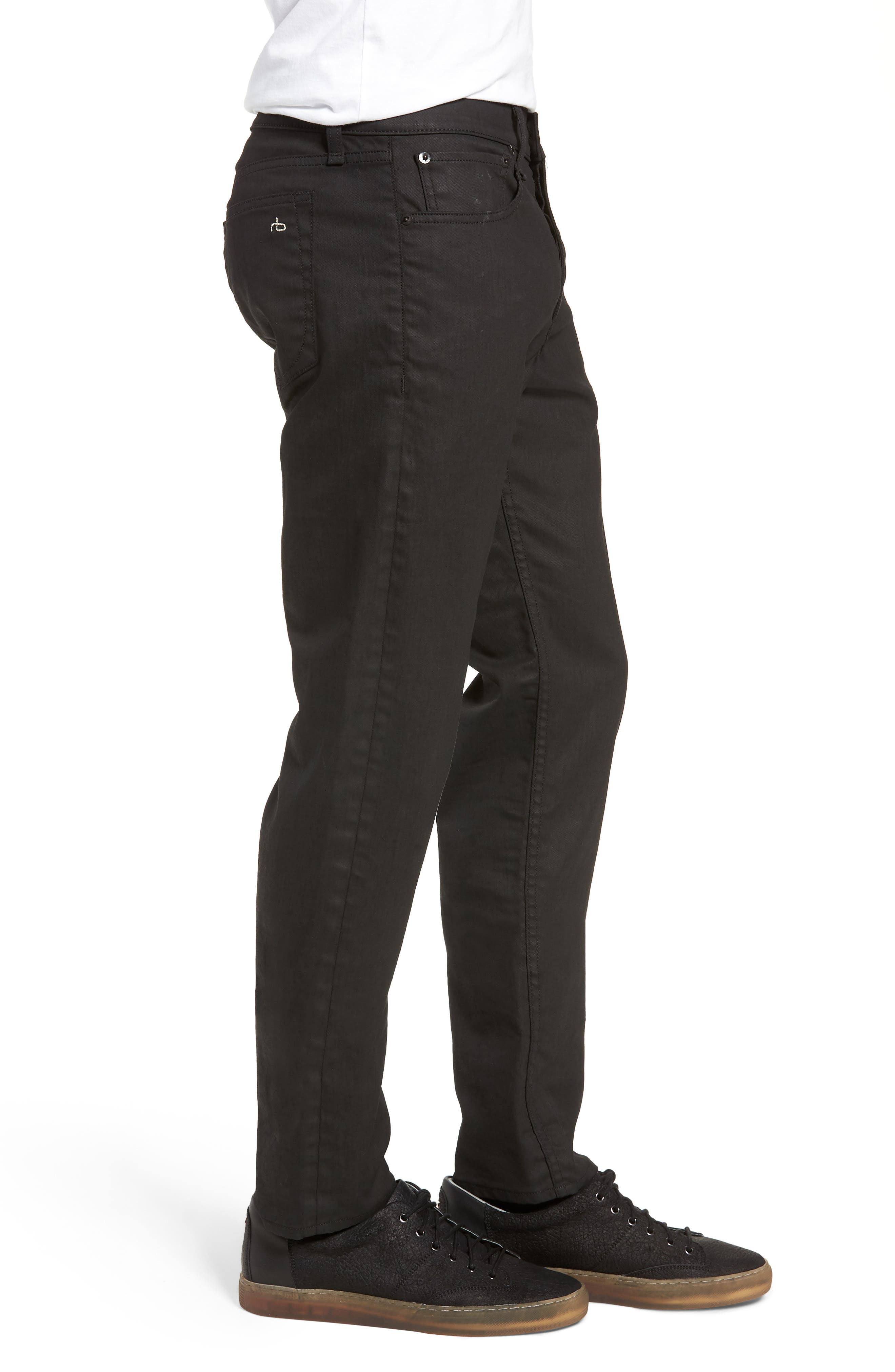 Fit 2 Slim Fit Twill Pants,                             Alternate thumbnail 3, color,                             COATED BLACK