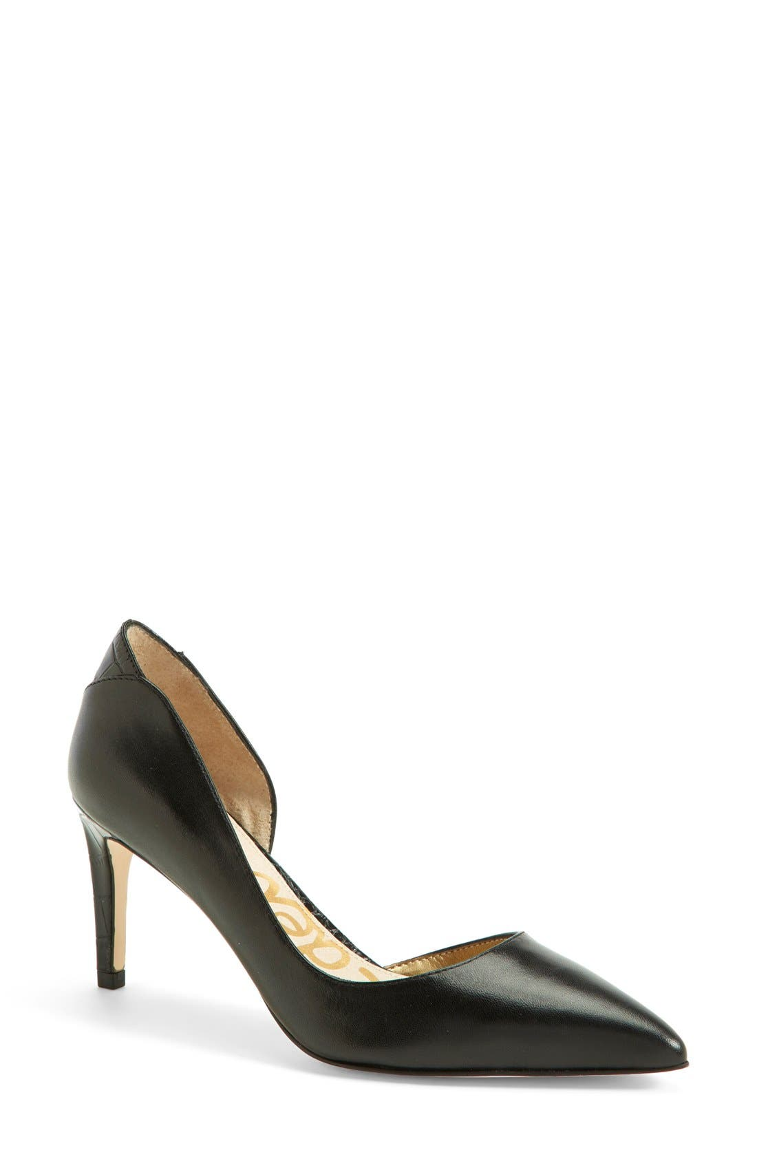 'Onyx' Half d'Orsay Pointy Toe Pump, Main, color, 001