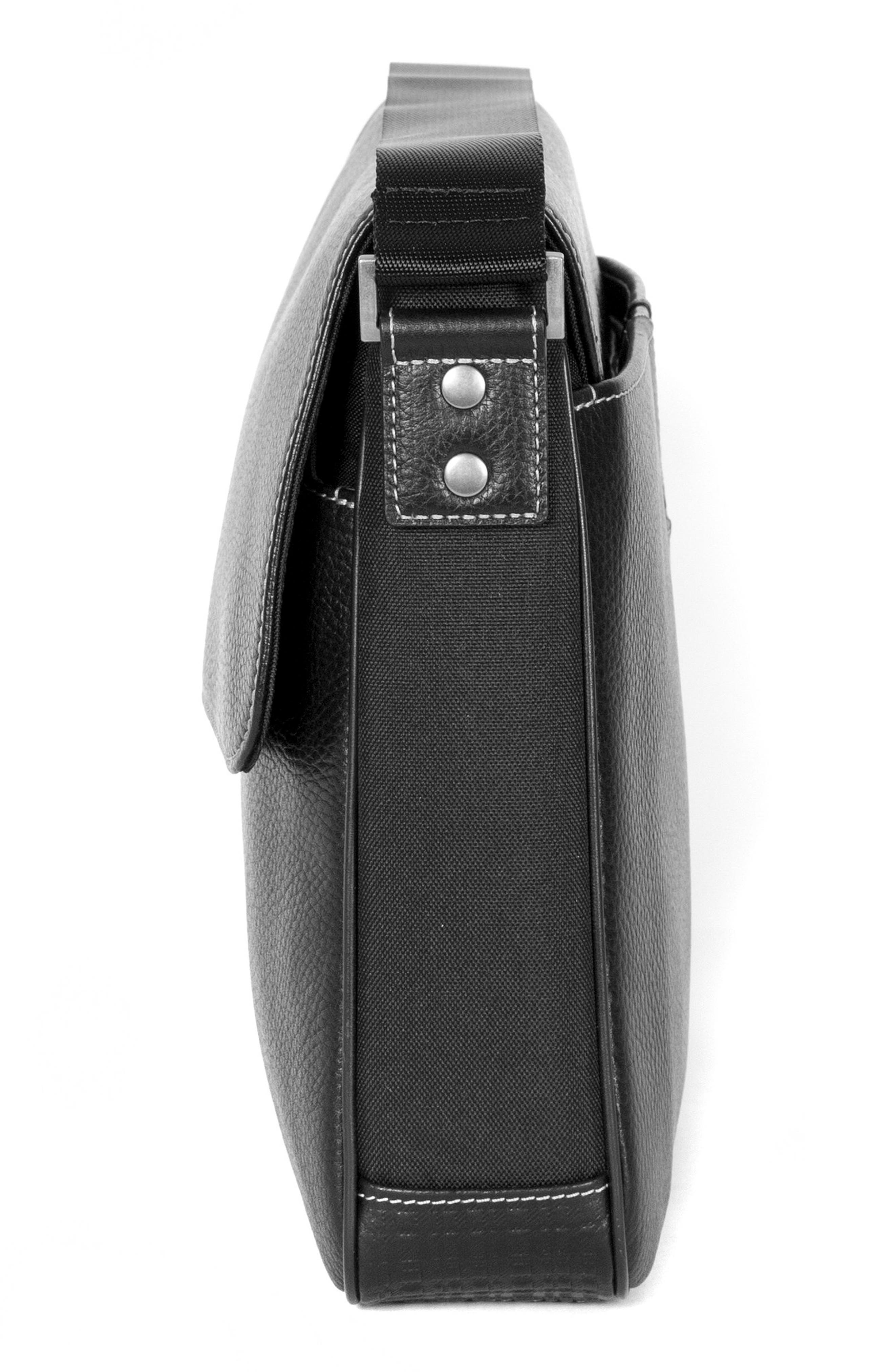Tyler Leather Briefcase,                             Alternate thumbnail 4, color,                             BLACK
