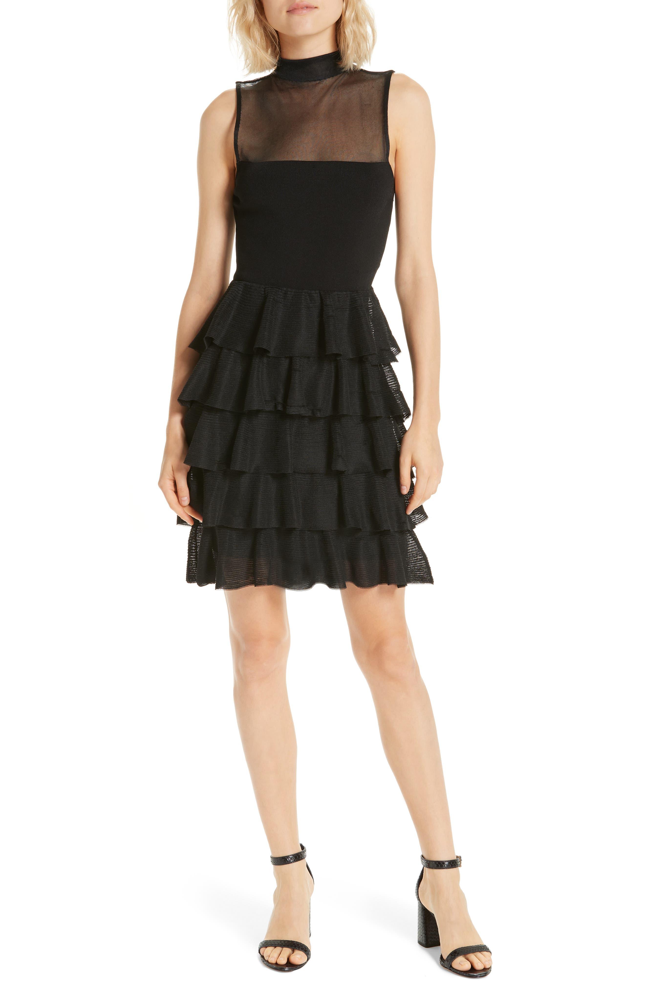 Alice + Olivia Janice Tiered Ruffle Mesh Knit Dress, Black