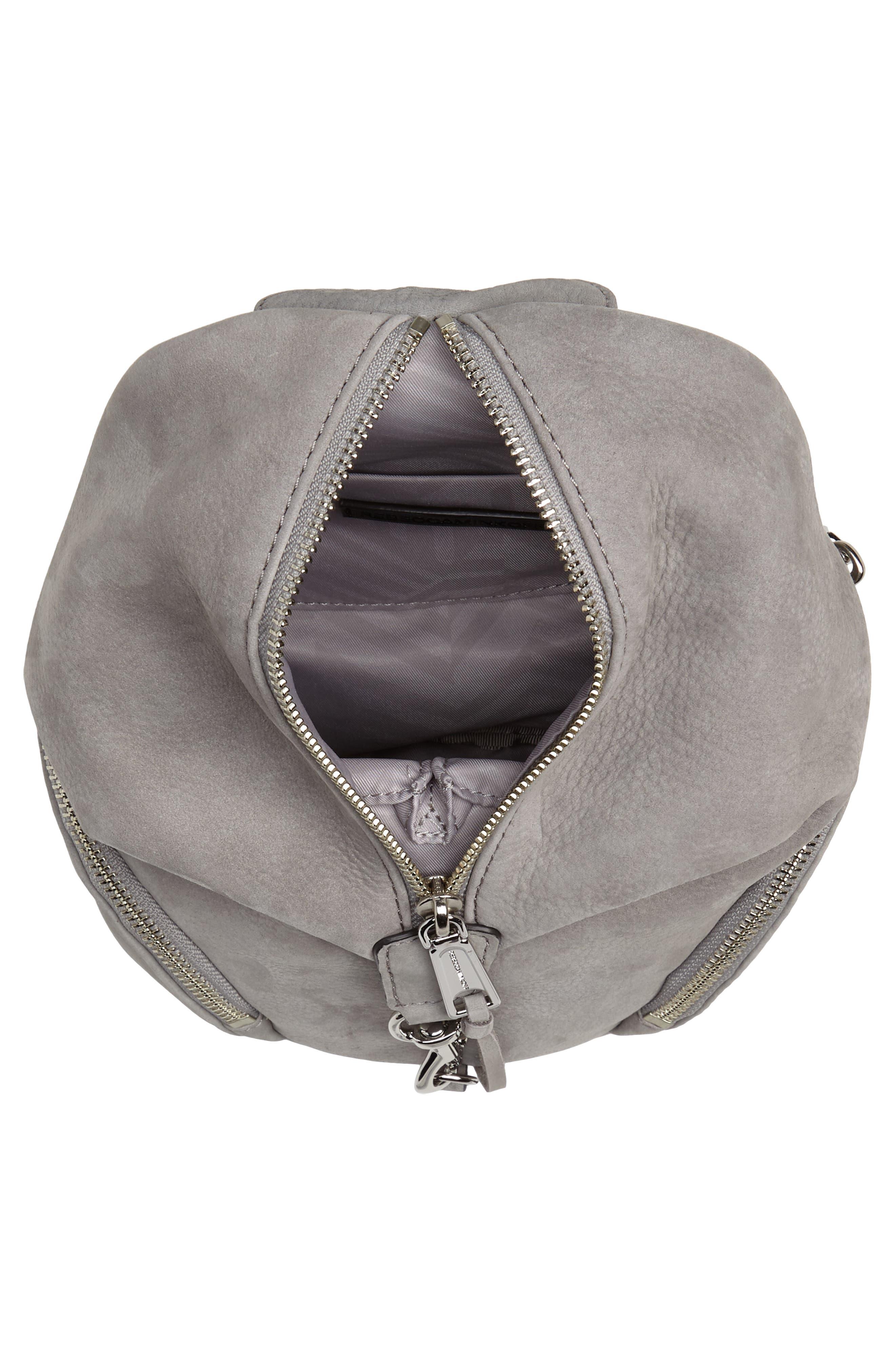 Mini Julian Nubuck Leather Convertible Backpack,                             Alternate thumbnail 4, color,                             GREY