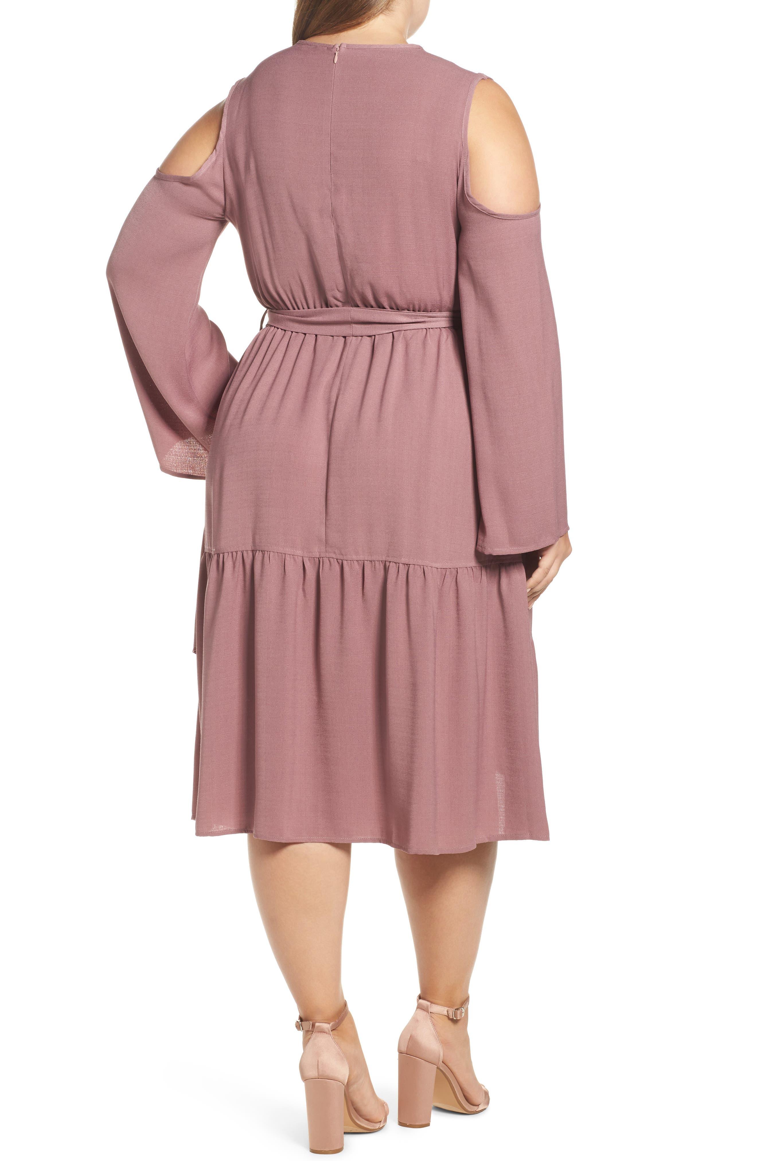 Cold Shoulder A-Line Dress,                             Alternate thumbnail 2, color,