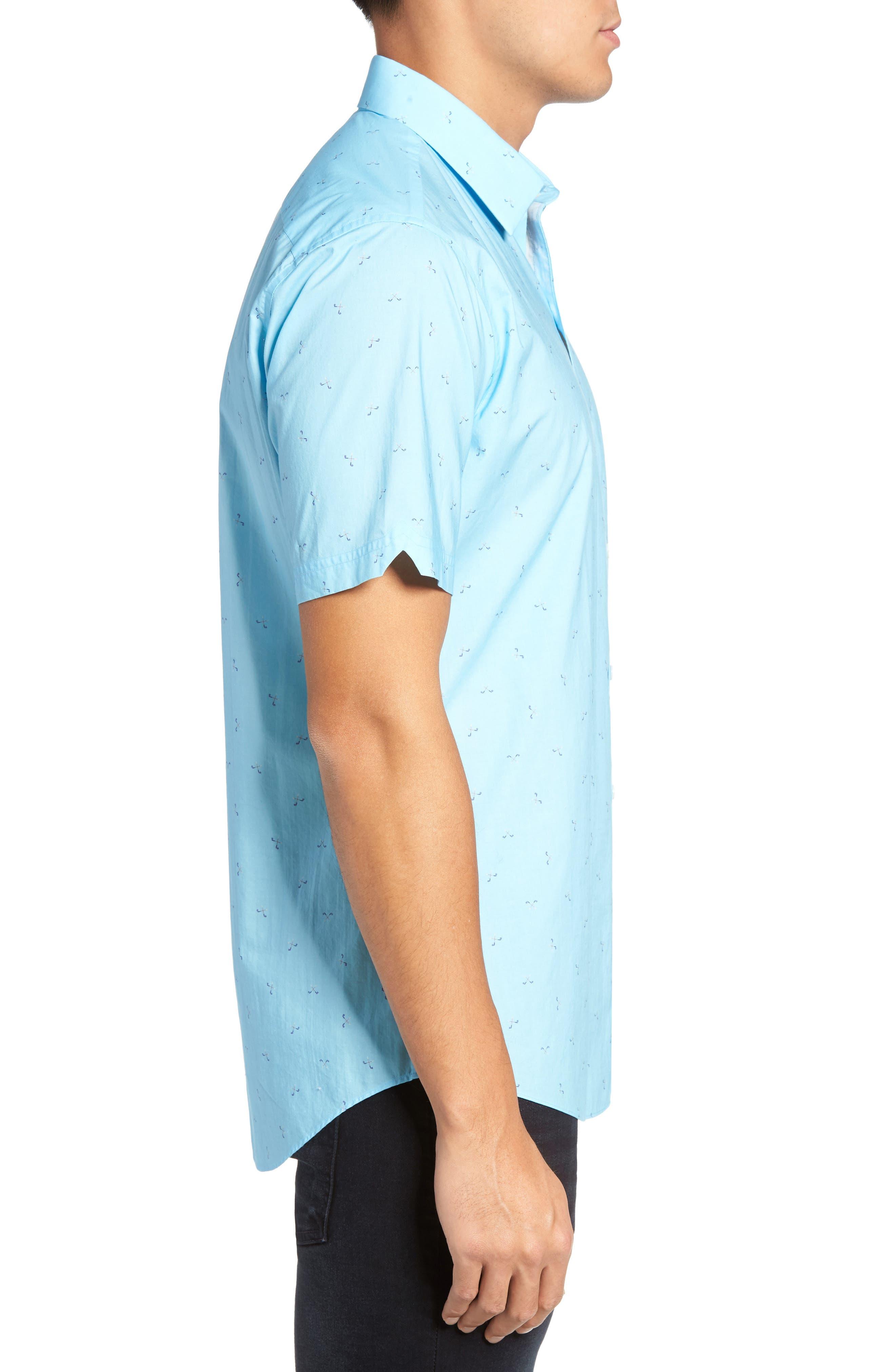 Weinman Regular Fit Print Short Sleeve Sport Shirt,                             Alternate thumbnail 3, color,                             411