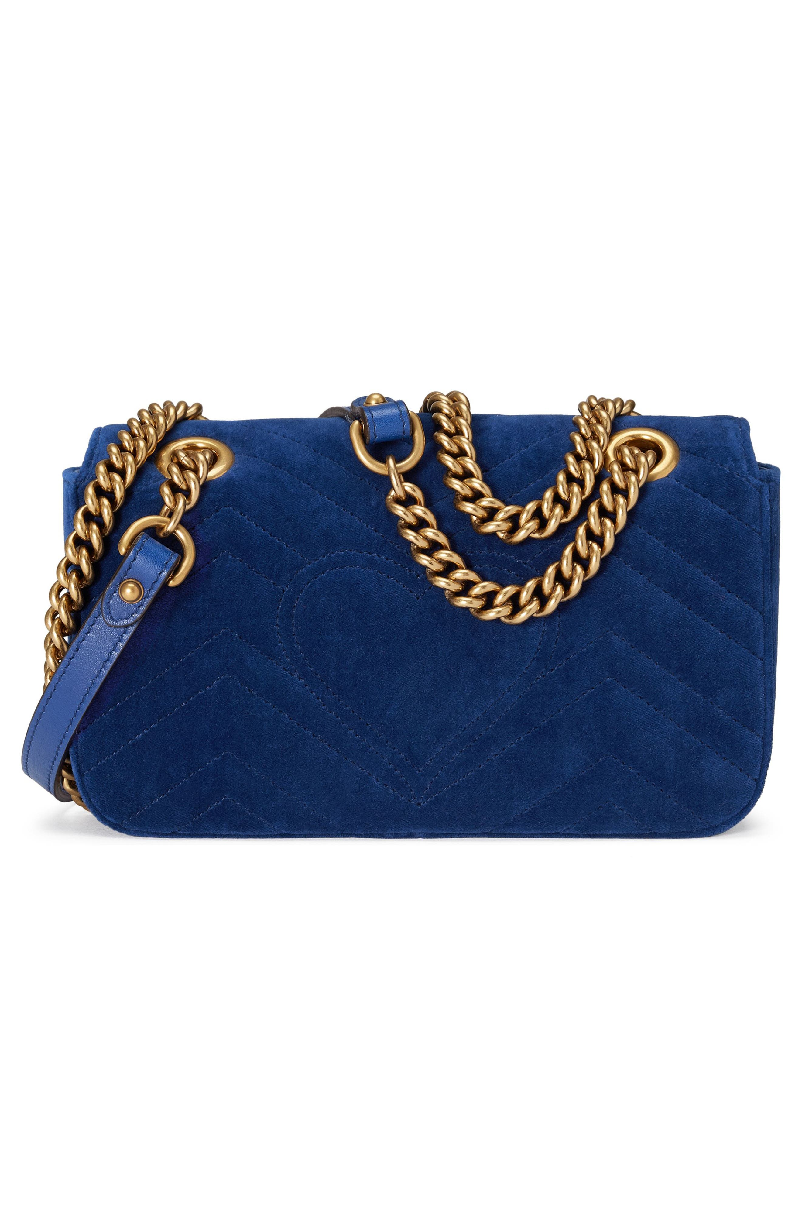 Small GG Marmont 2.0 Matelassé Velvet Shoulder Bag,                             Alternate thumbnail 2, color,                             COBALT