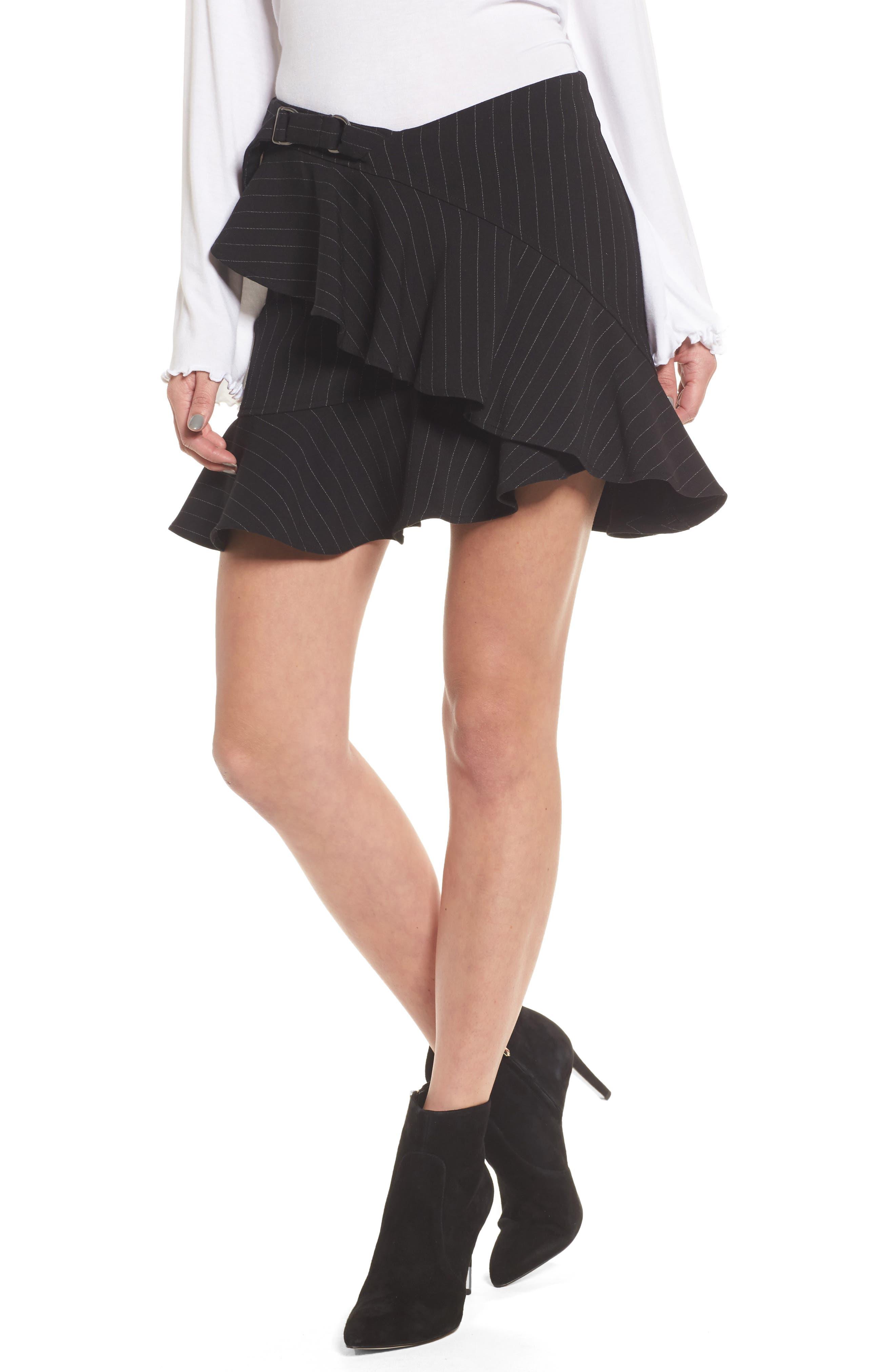Dominic Asymmetrical Ruffle Skirt,                             Main thumbnail 1, color,                             001