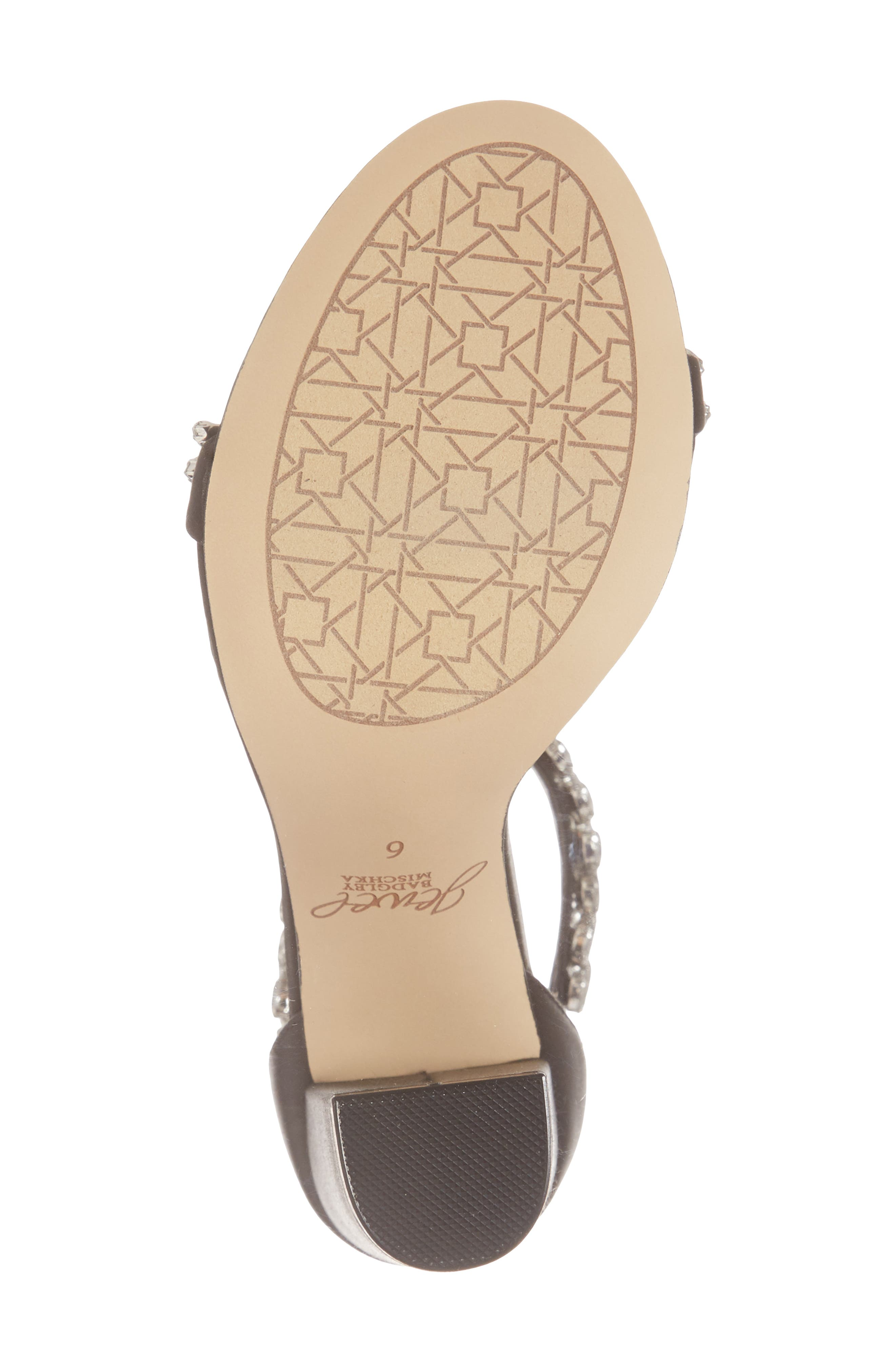 JEWEL BADGLEY MISCHKA,                             Jewel by Badgley Mischka Mayra Embellished Ankle Strap Sandal,                             Alternate thumbnail 6, color,                             BLACK SATIN