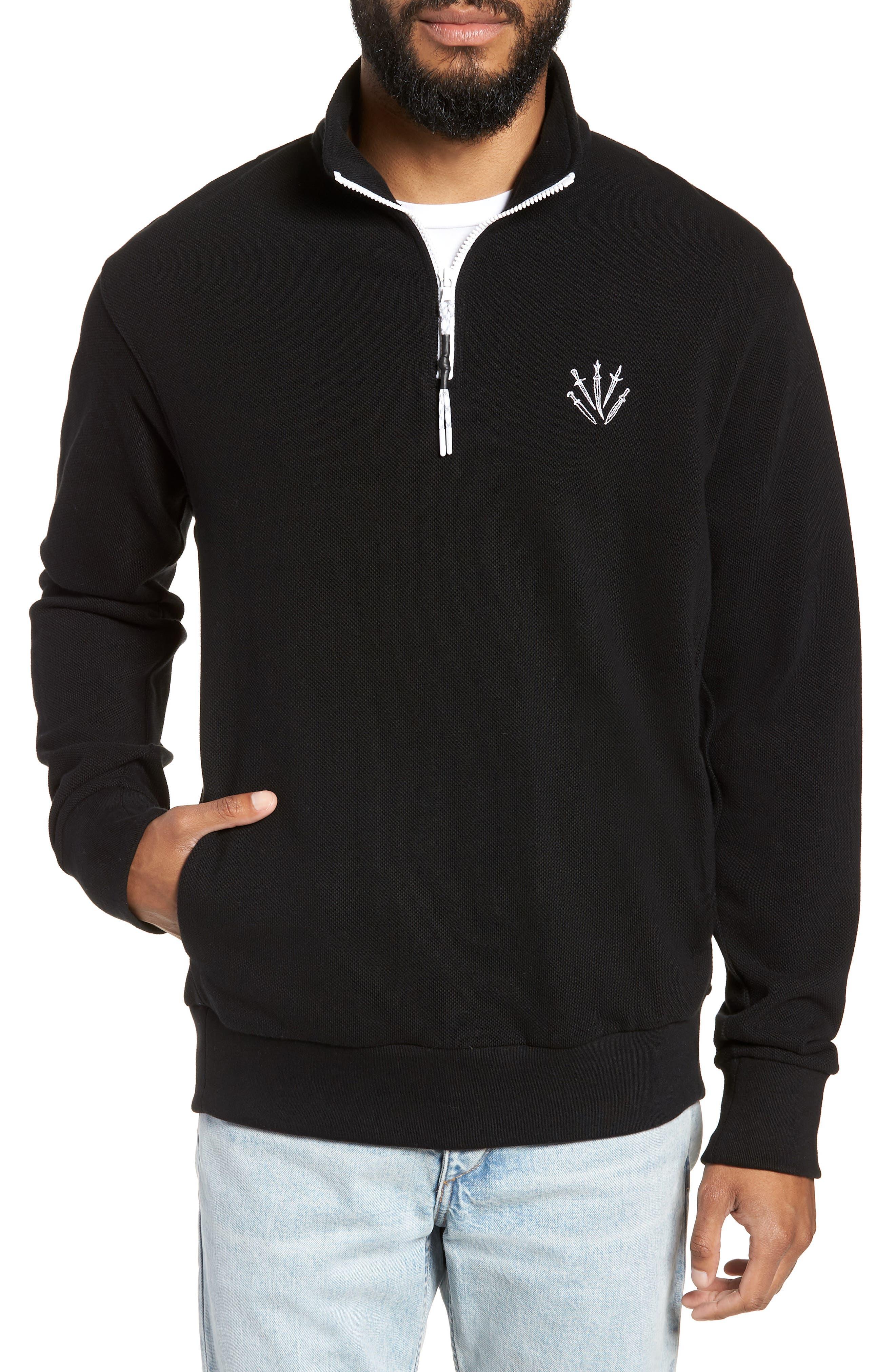 Piqué Quarter Zip Pullover,                         Main,                         color, BLACK