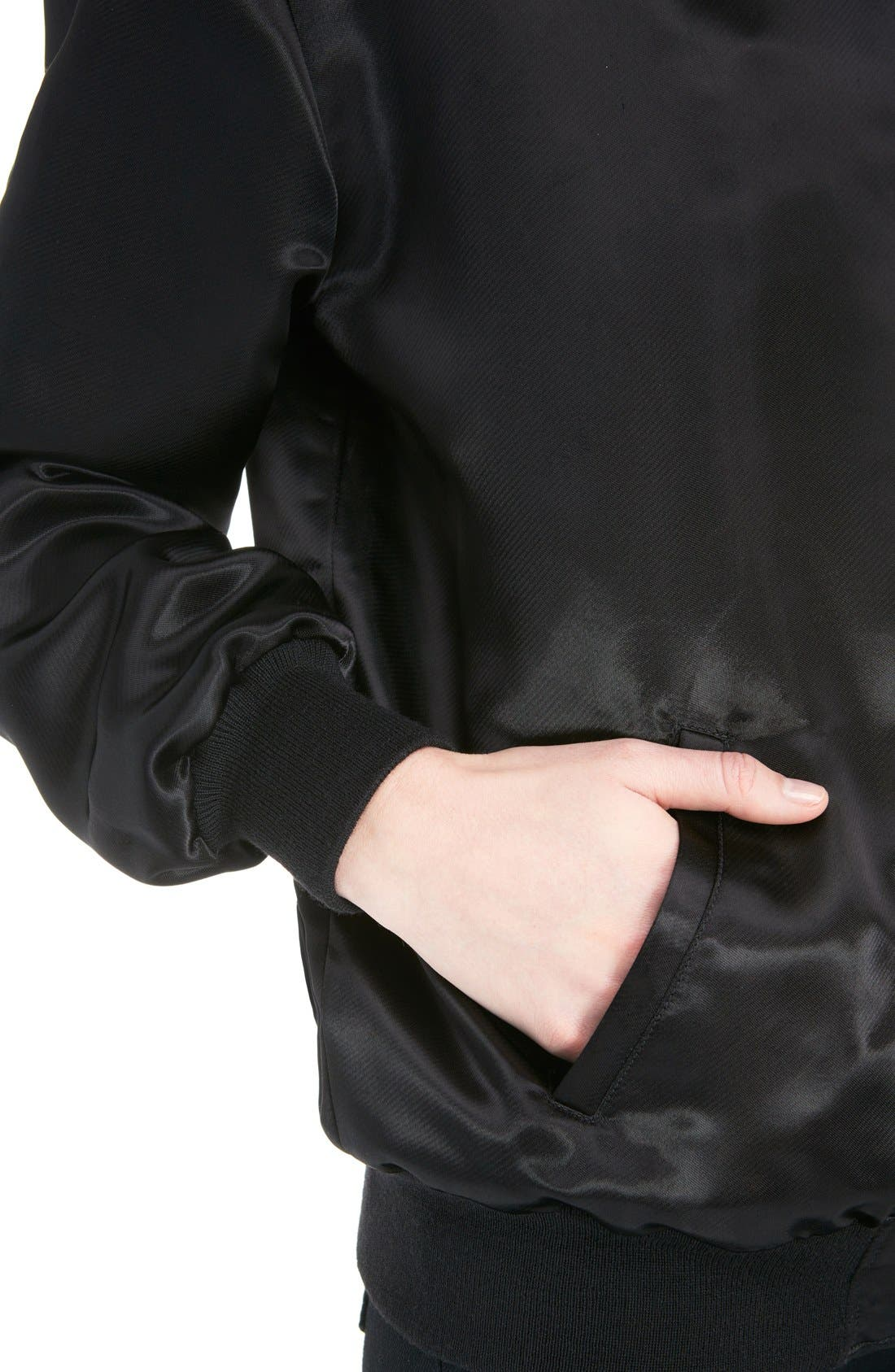 'Teddy' Oversize Patch Satin Bomber Jacket,                             Alternate thumbnail 6, color,                             001