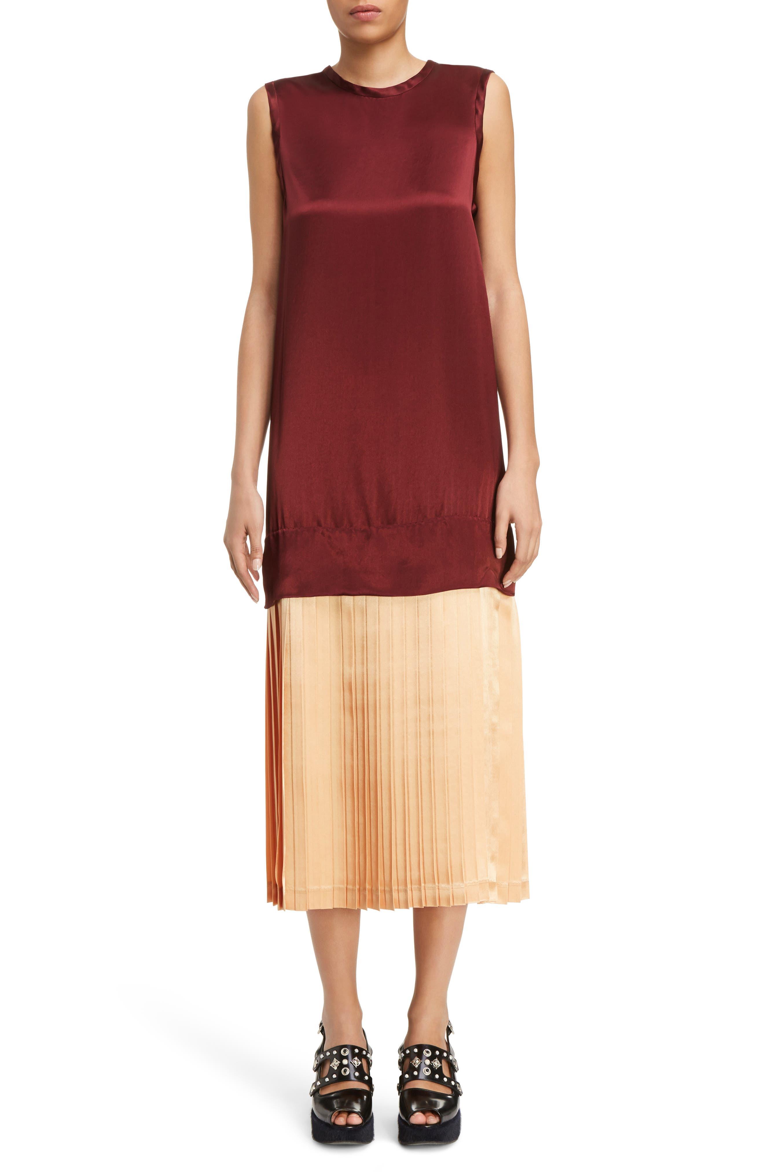 Mock Two-Piece Satin Dress,                         Main,                         color,