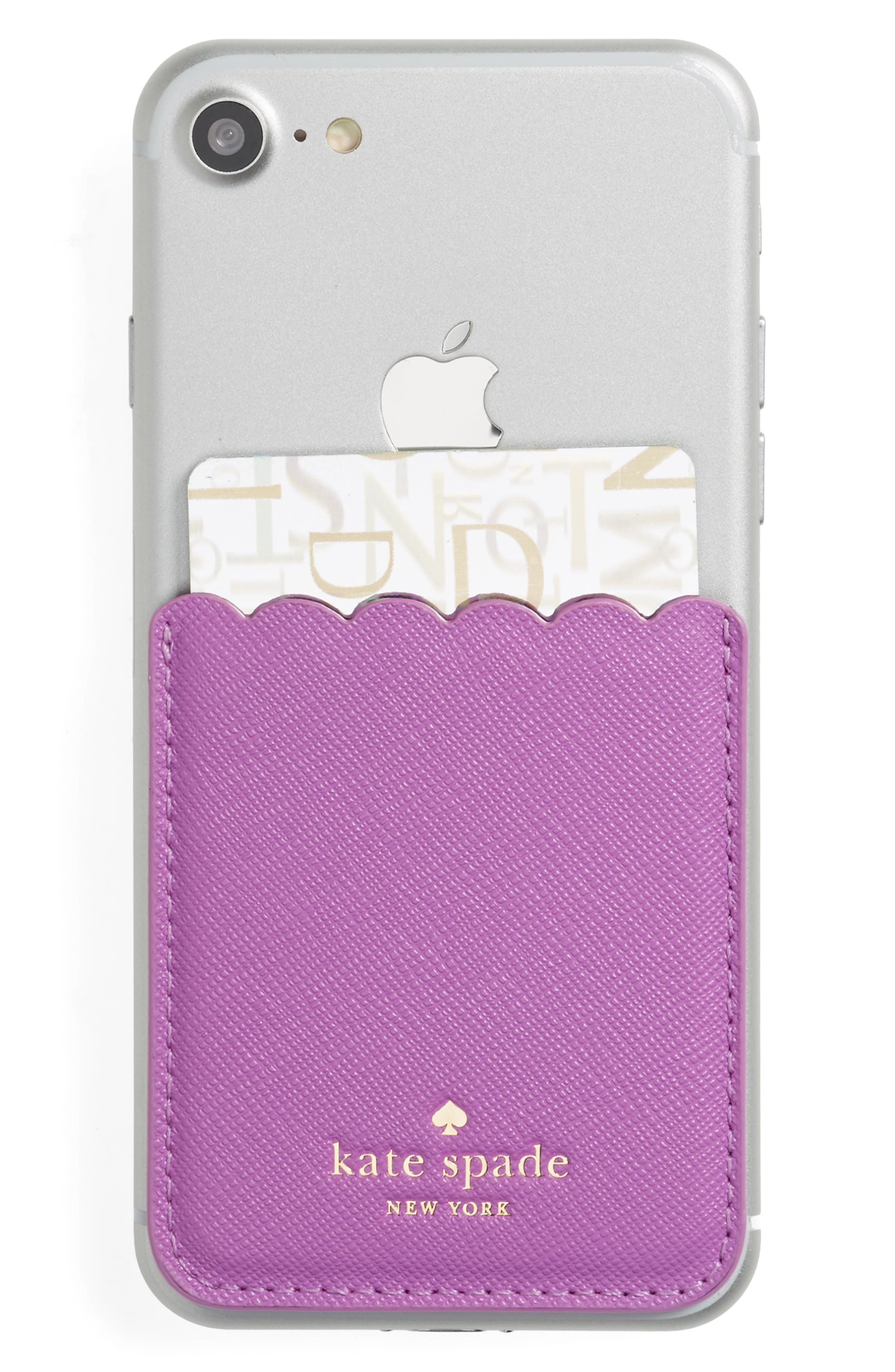 scallop leather stick-on smartphone case pocket,                             Main thumbnail 7, color,