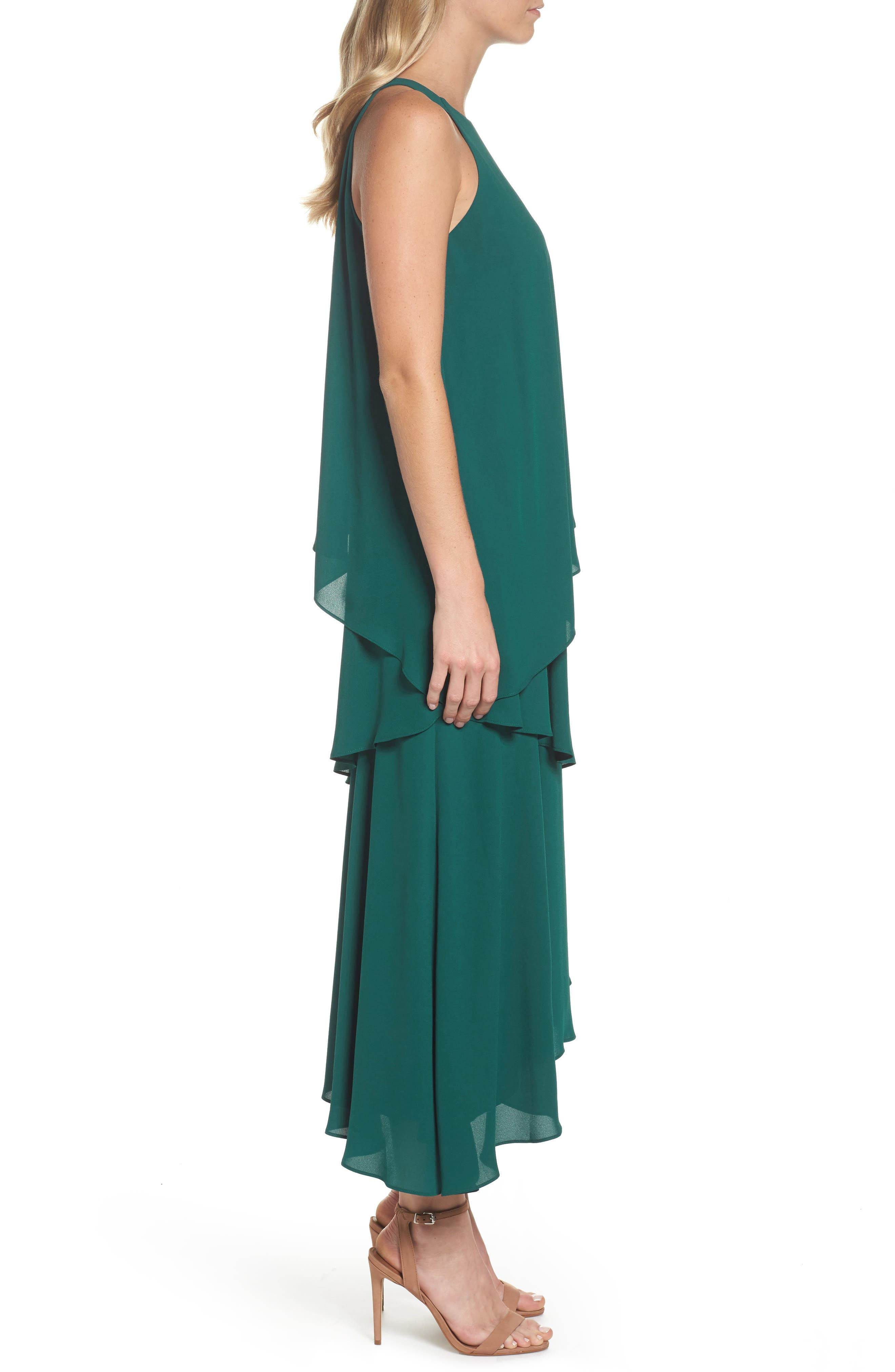 Georgette Asymmetric Dress,                             Alternate thumbnail 3, color,