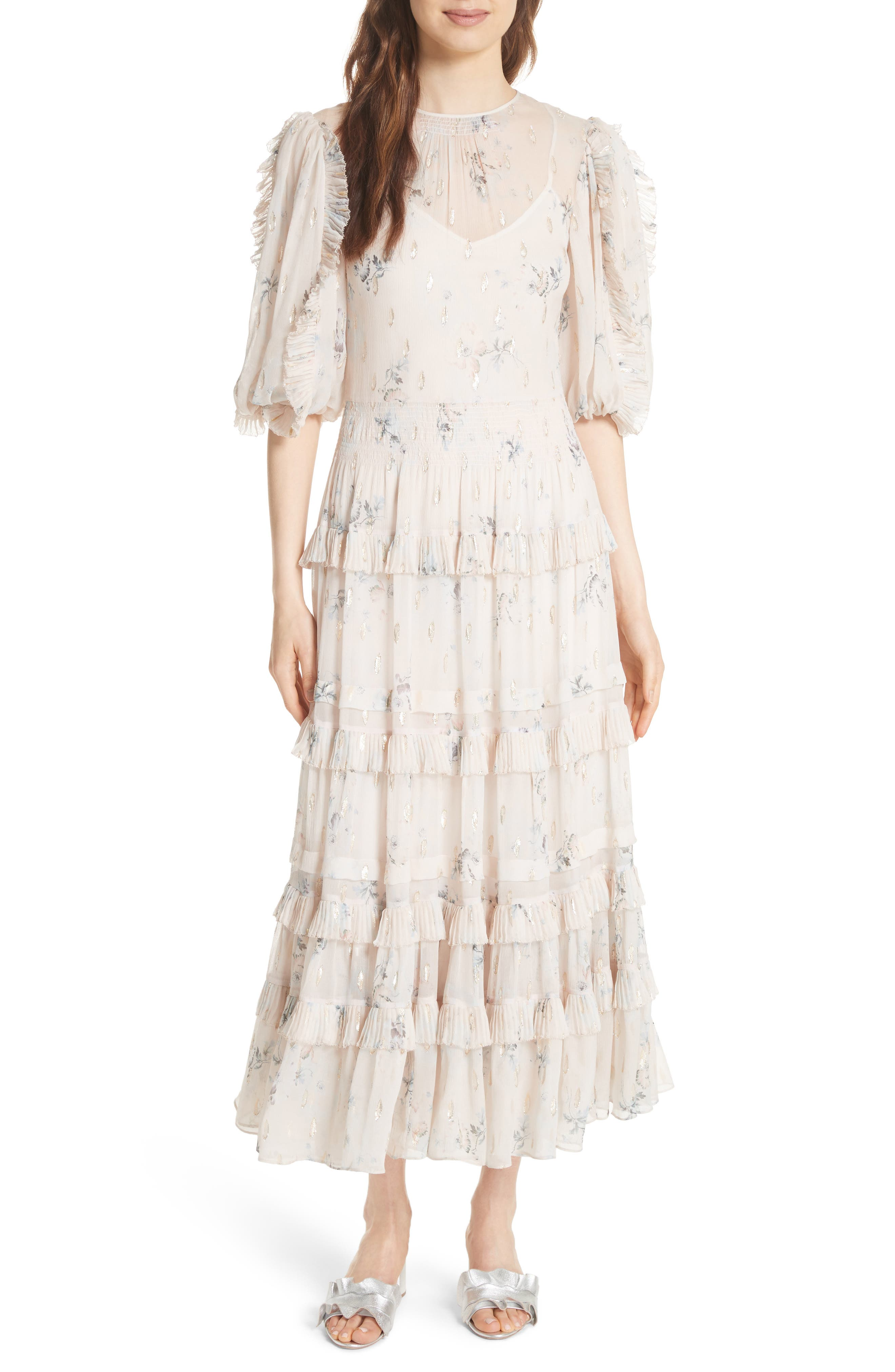 Metallic Faded Floral Midi Dress,                             Alternate thumbnail 5, color,                             901
