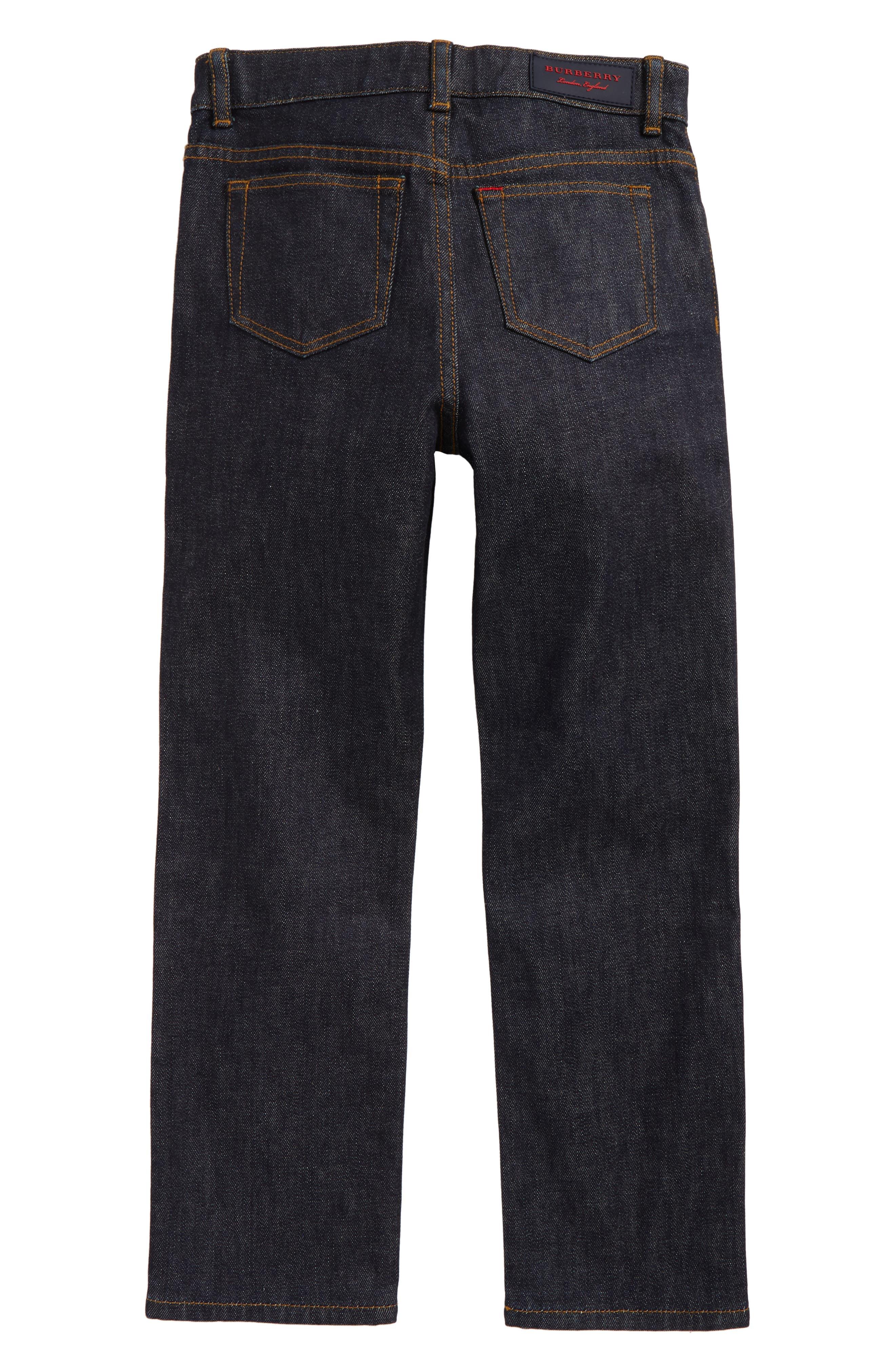 Check Cuff Straight Leg Jeans,                             Alternate thumbnail 3, color,
