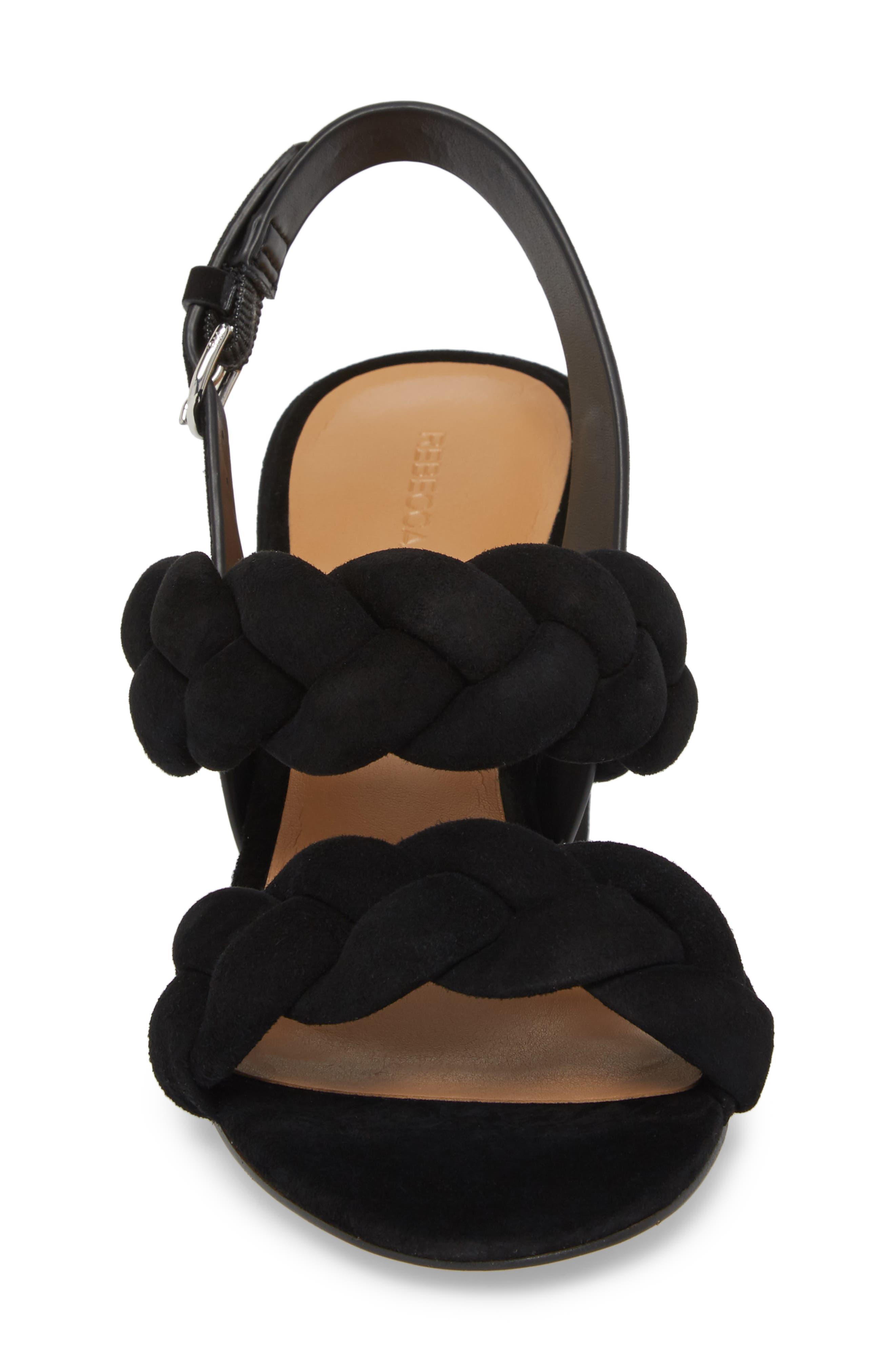 Candance Block Heel Sandal,                             Alternate thumbnail 4, color,                             BLACK LEATHER