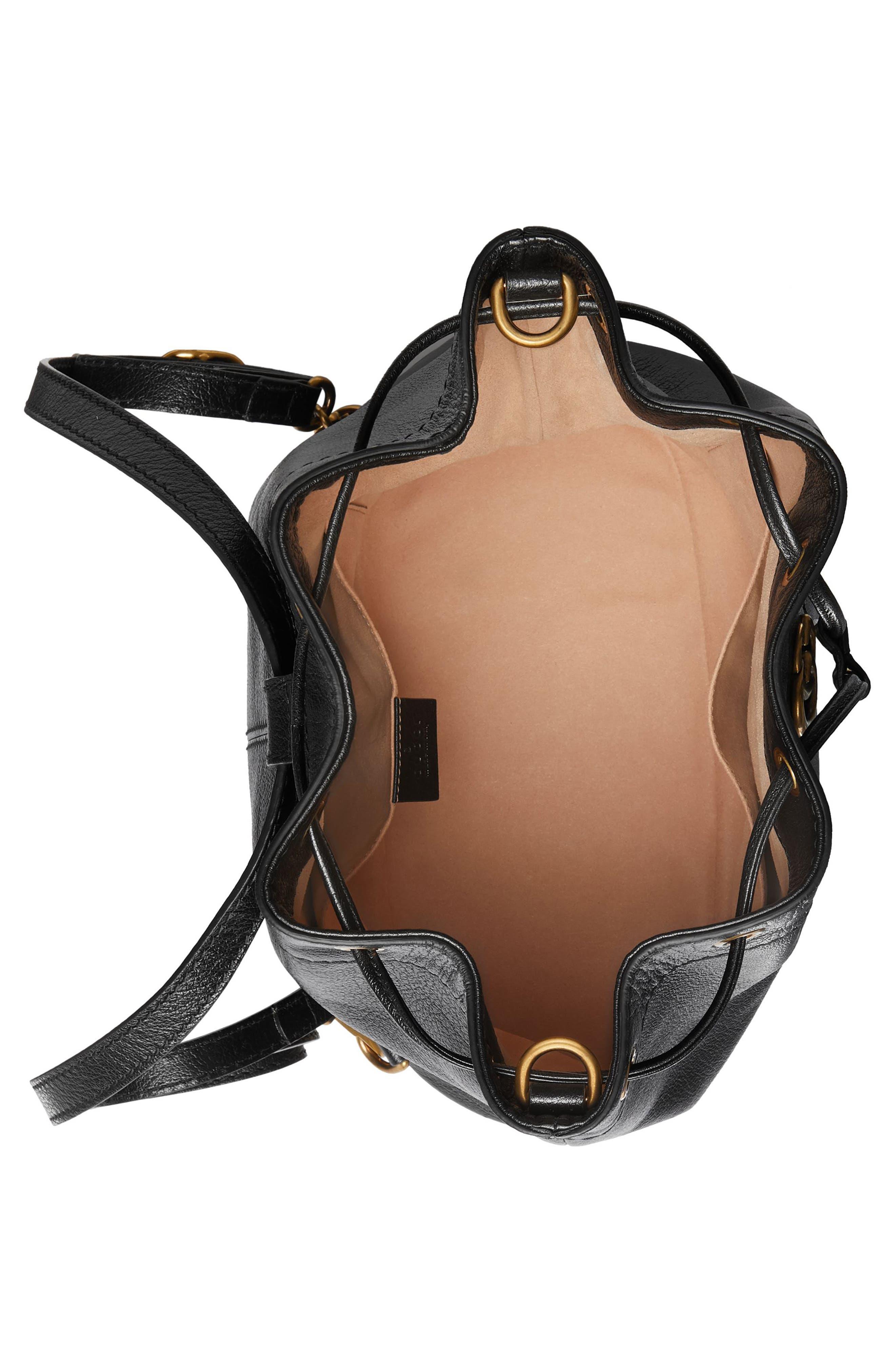 Medium RE(BELLE) Leather Convertible Bucket Bag,                             Alternate thumbnail 3, color,                             001