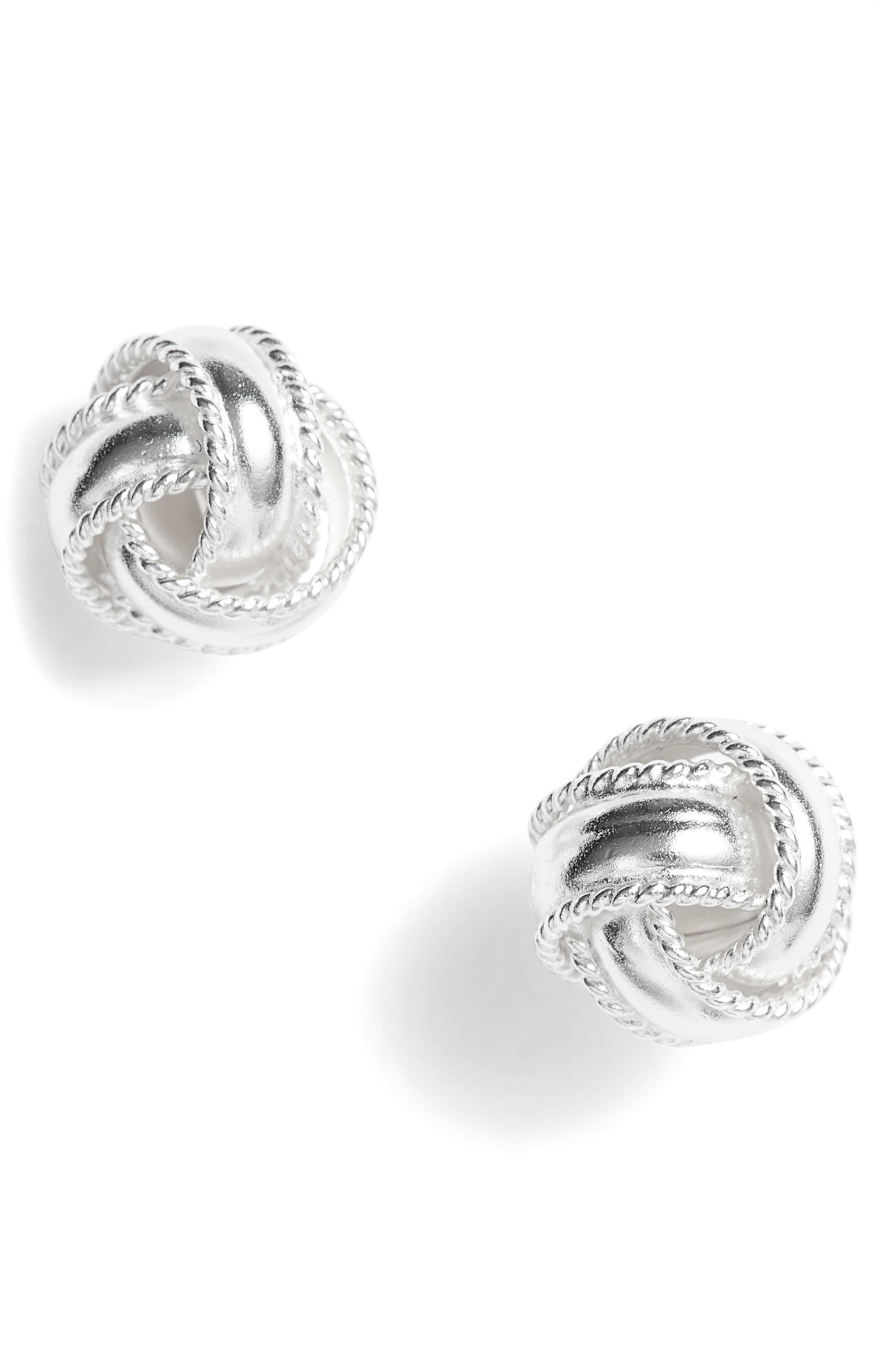Love Knot Stud Earrings,                         Main,                         color, SILVER