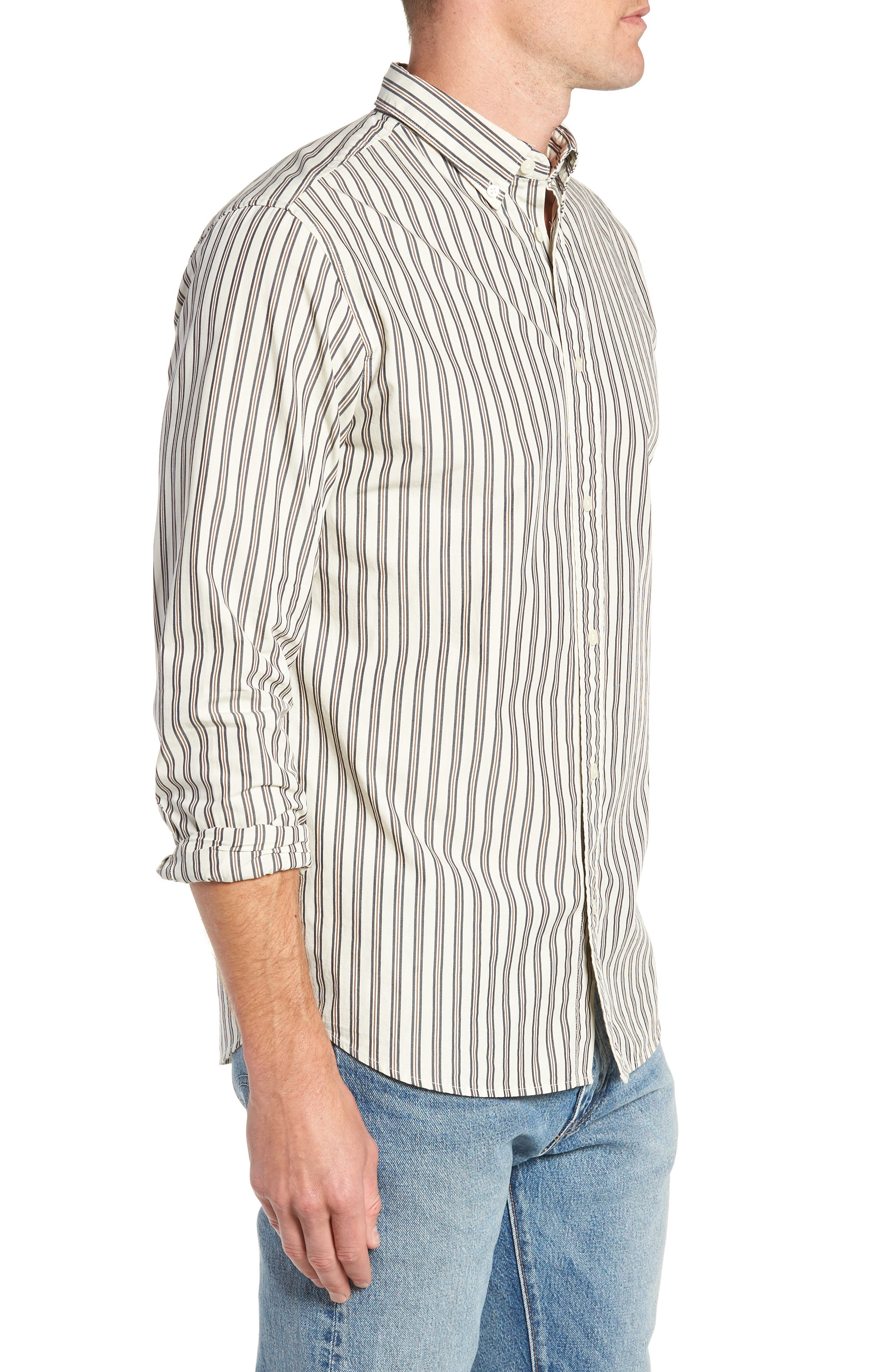 Carl Regular Fit Stripe Sport Shirt,                             Alternate thumbnail 4, color,                             OYSTER GREY STRIPES