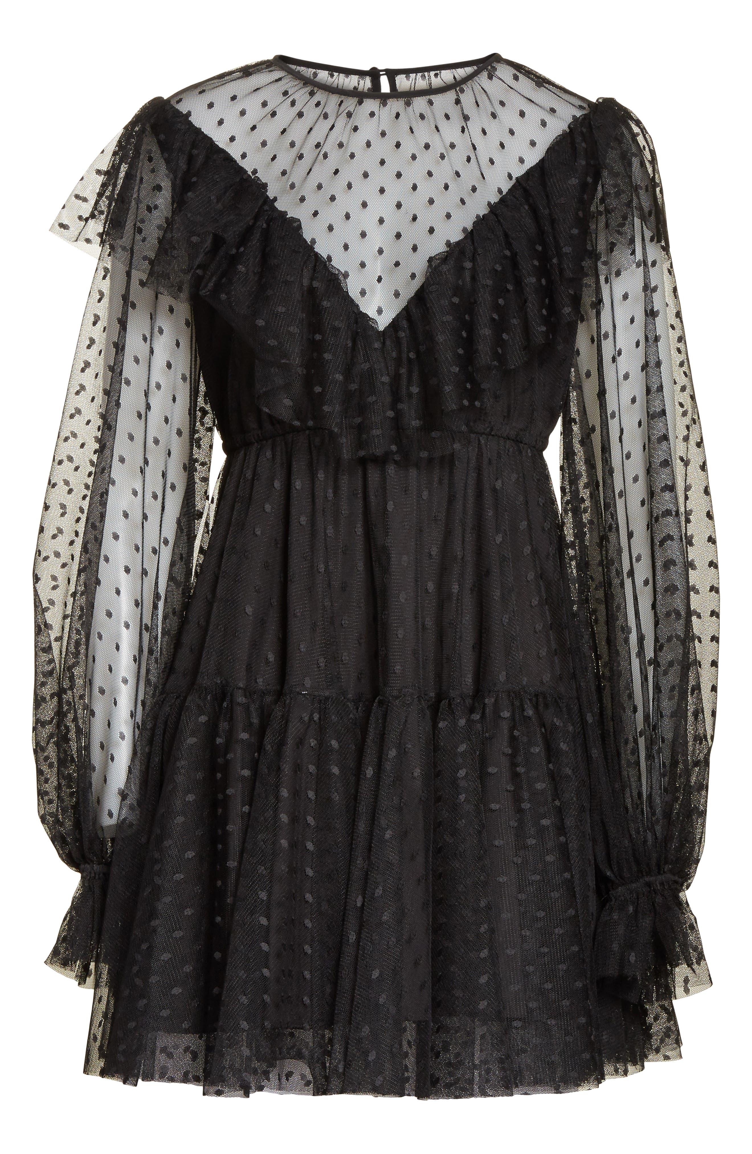 Dot Tulle Victorian Dress,                             Alternate thumbnail 6, color,                             001