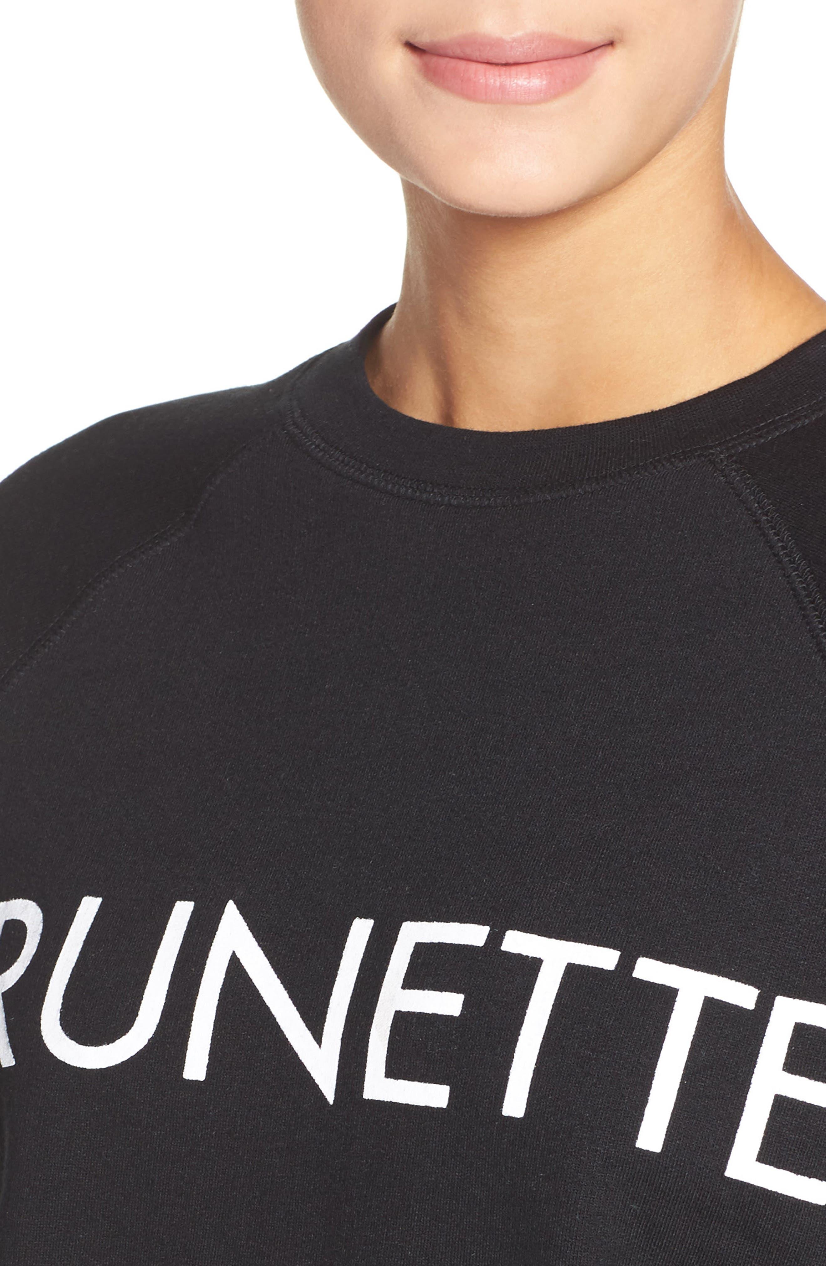 Brunette Crewneck Sweatshirt,                             Alternate thumbnail 5, color,                             001