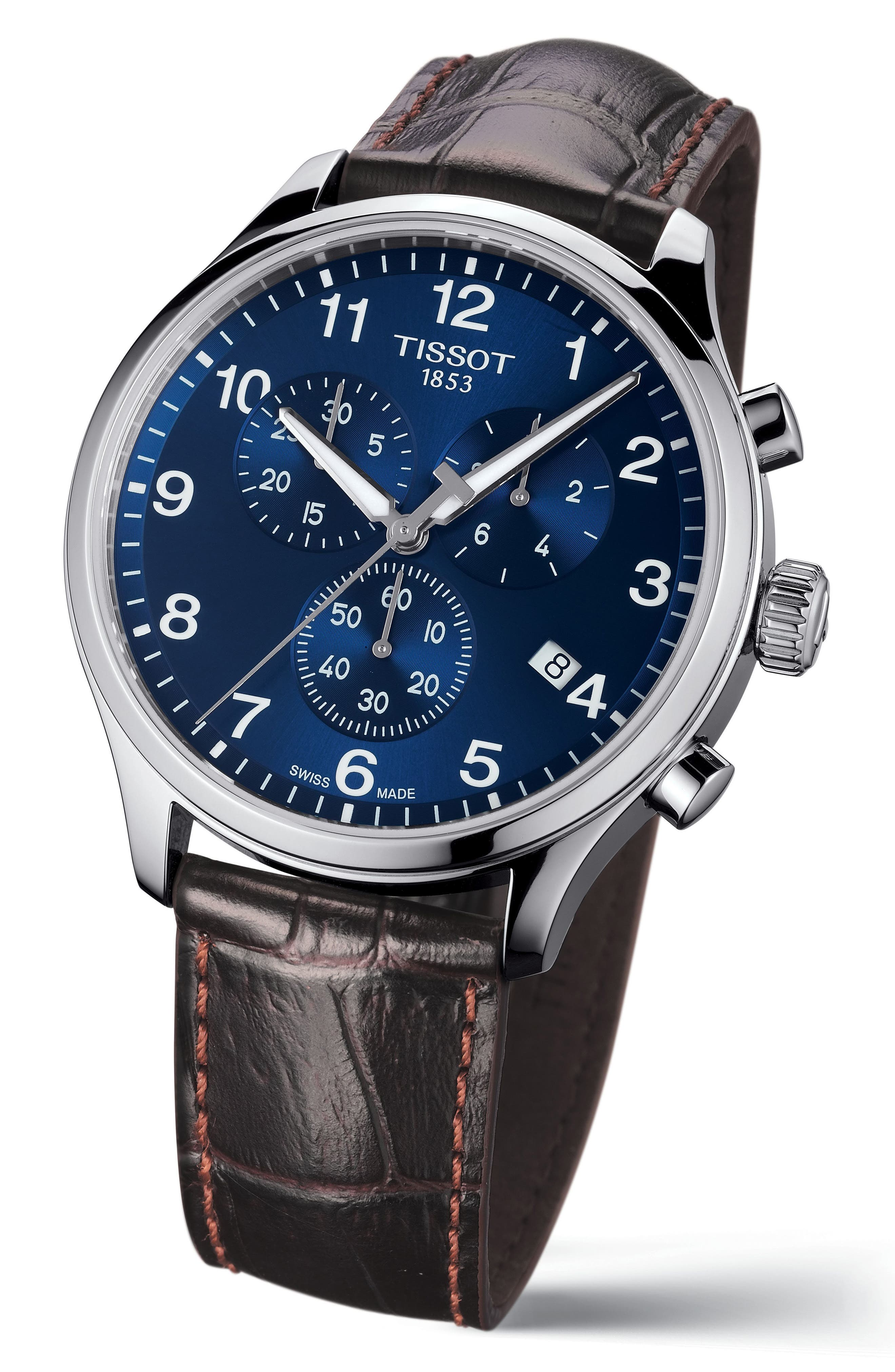 Chrono XL Collection Chronograph Leather Strap Watch, 45mm,                             Alternate thumbnail 2, color,                             BROWN/ BLUE/ SILVER