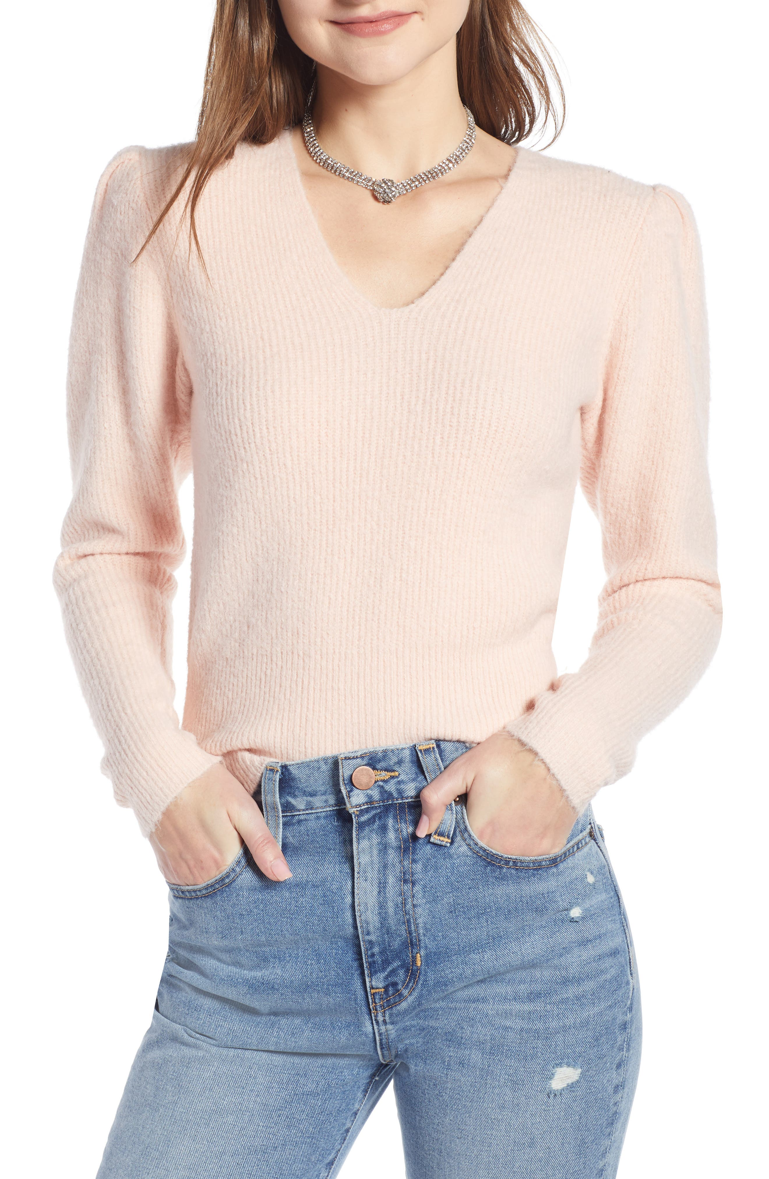 Puff Sleeve Sweater,                         Main,                         color, PINK SEASHELL