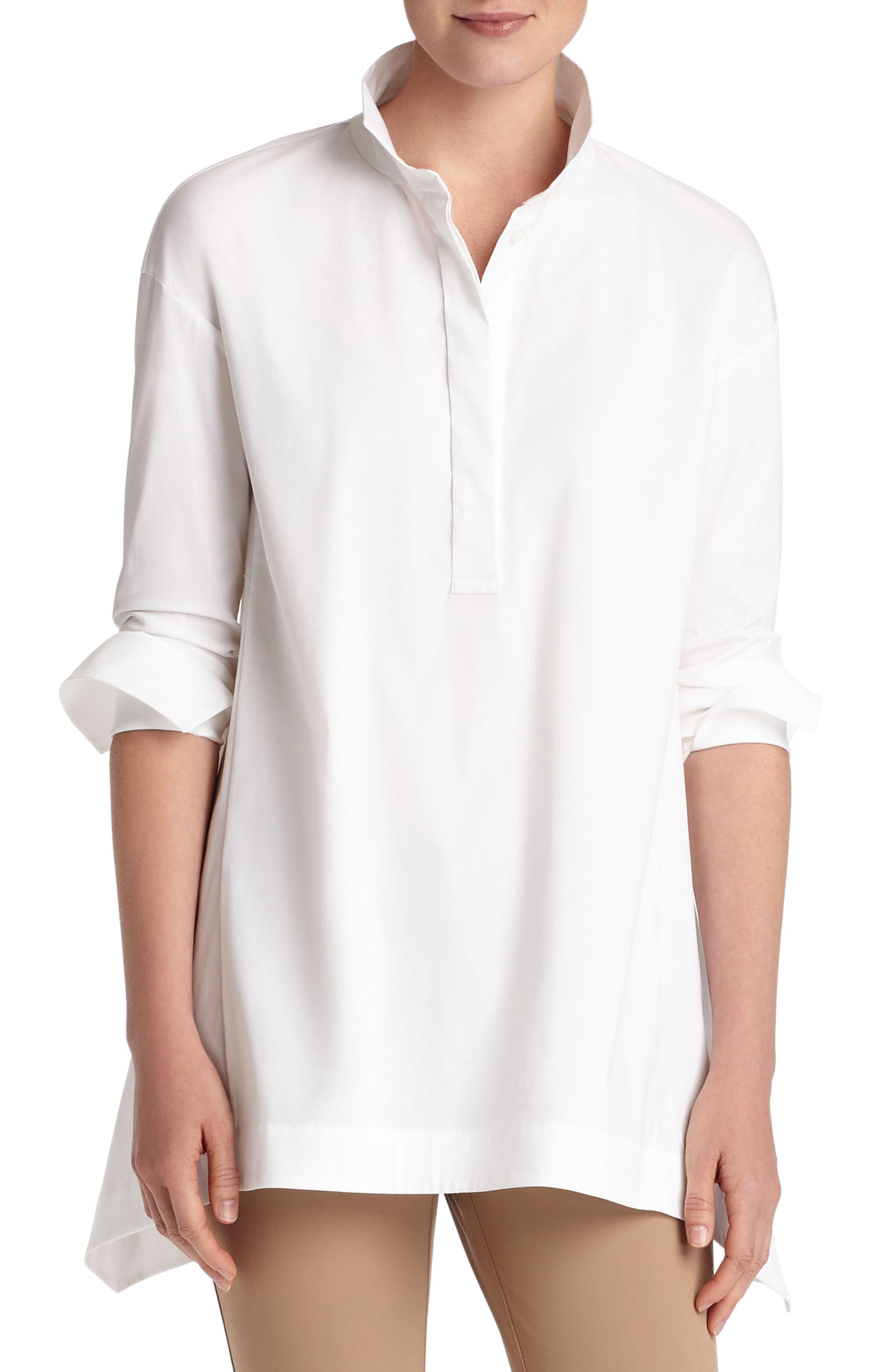 Valen Stretch Cotton Blouse,                         Main,                         color, 100
