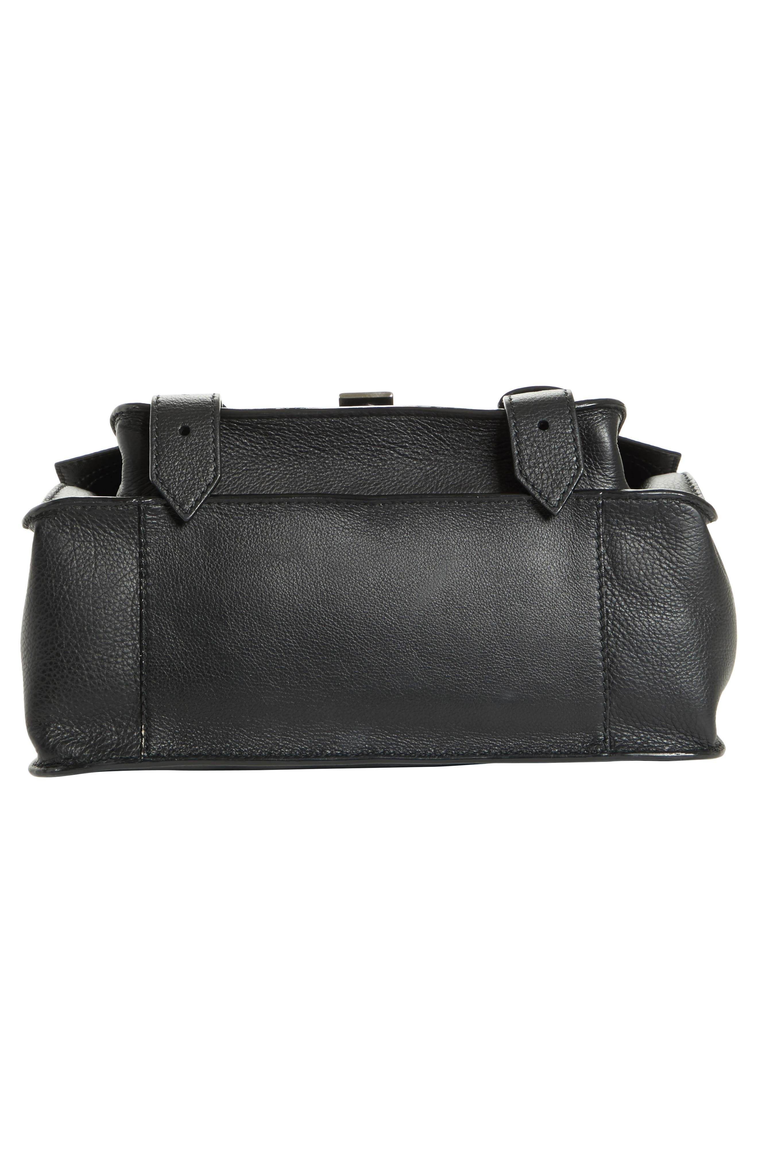 Tiny PS1 Grainy Leather Satchel,                             Alternate thumbnail 5, color,                             BLACK