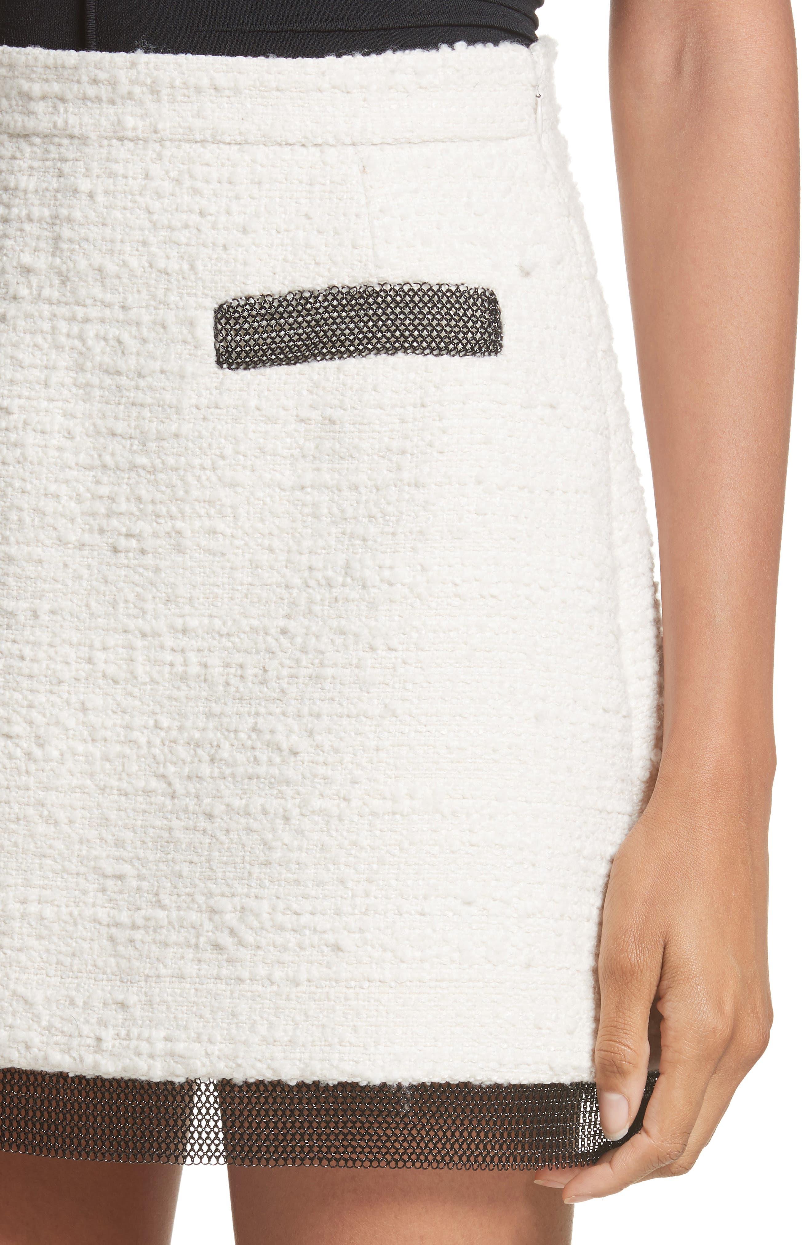 Chain Mail Trim Tweed Miniskirt,                             Alternate thumbnail 4, color,