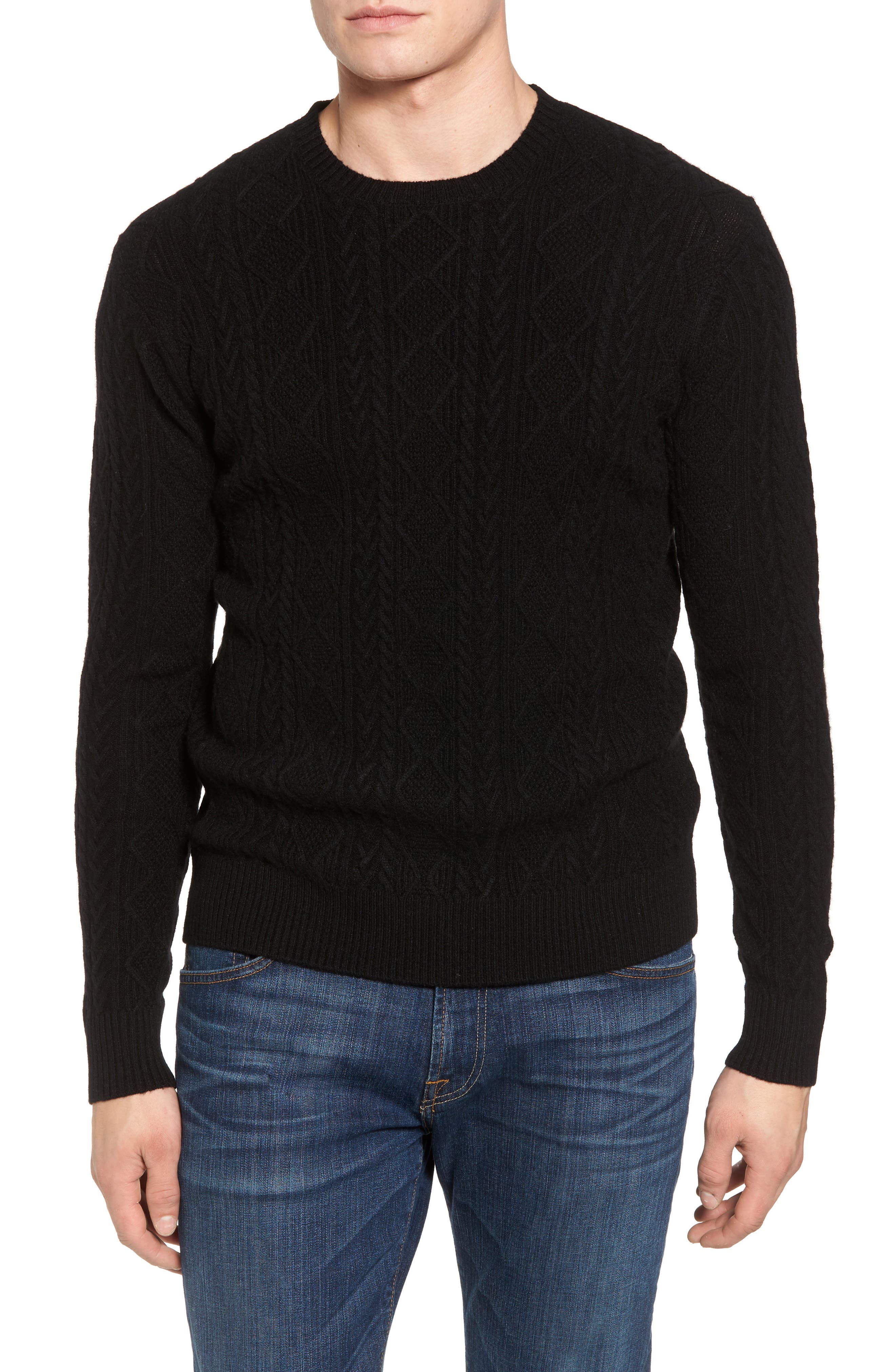 Crown Wool Blend Fisherman Sweater,                         Main,                         color, 001