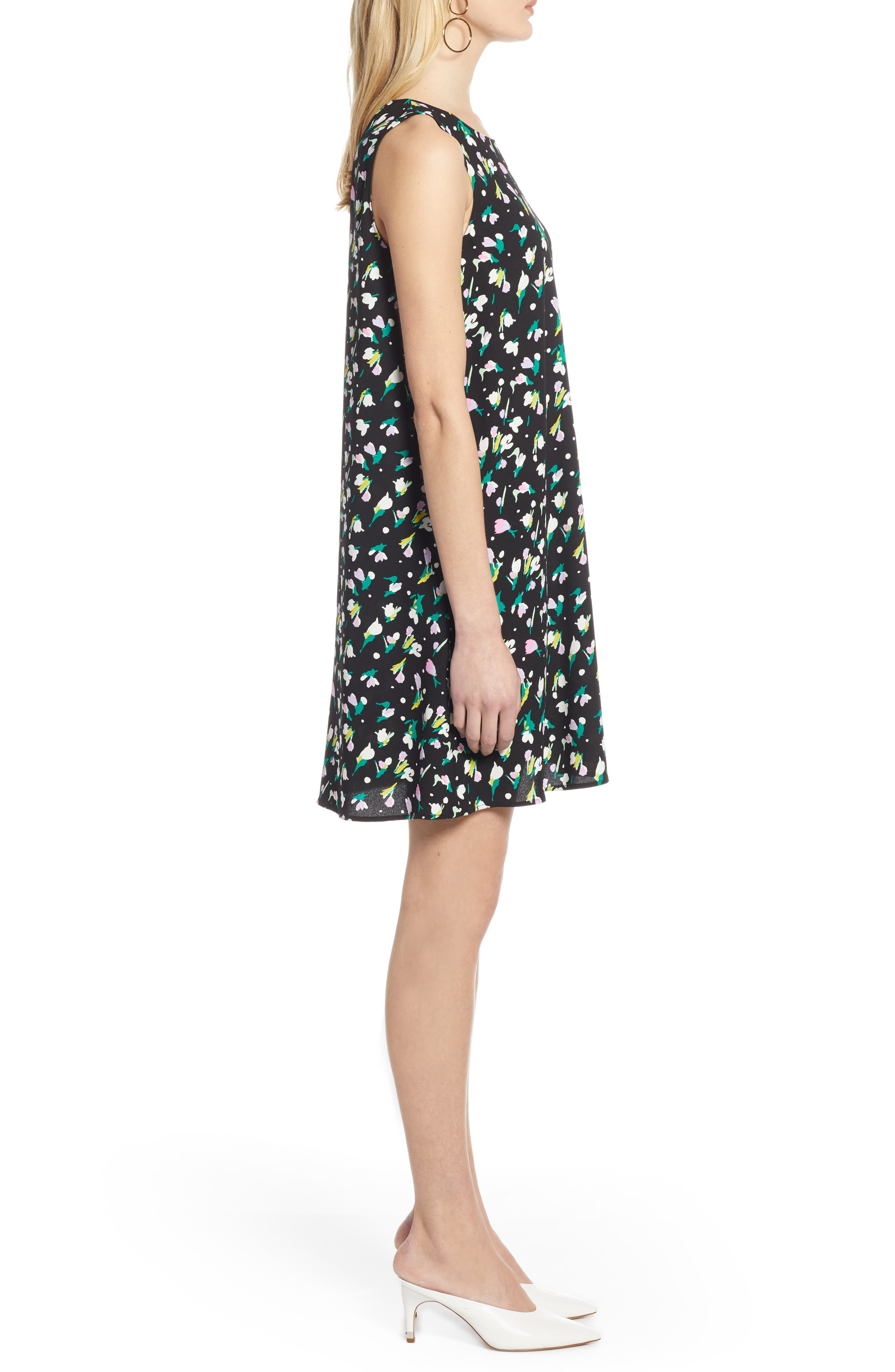 HALOGEN<SUP>®</SUP>,                             A-Line Dress,                             Alternate thumbnail 3, color,                             BLACK TINY TULIP PRINT
