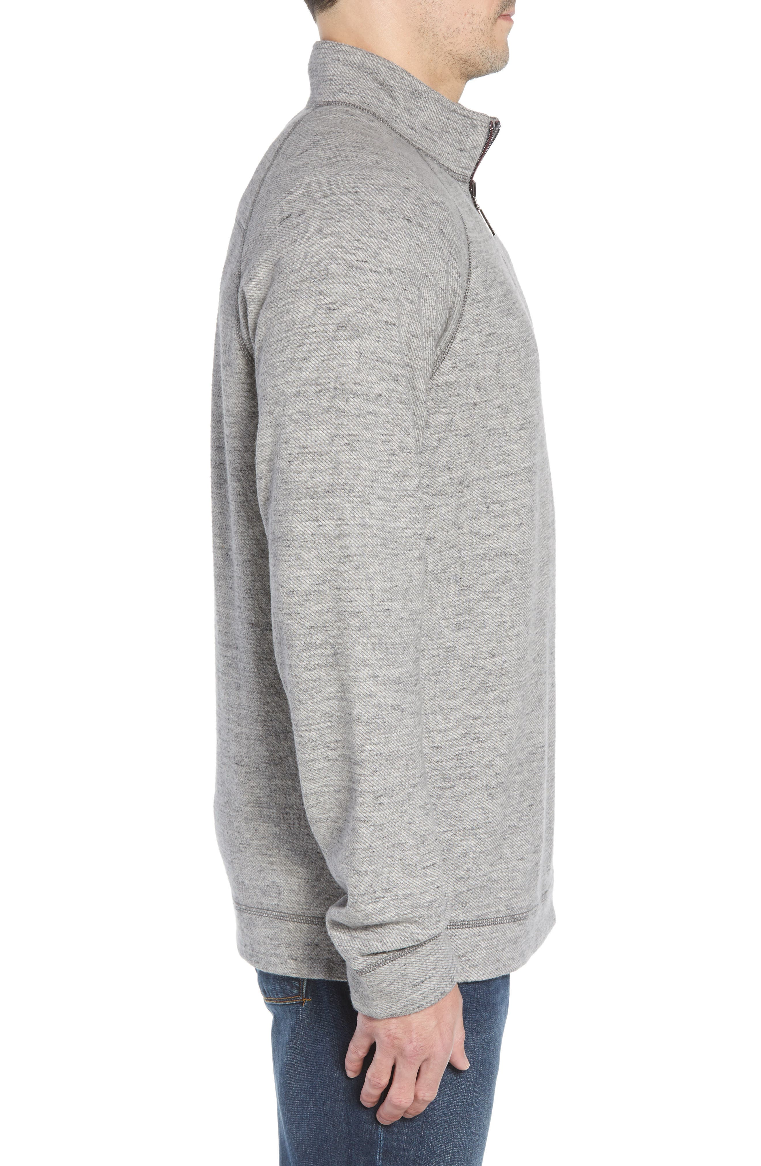 On the Doubles Mock Neck Quarter Zip Pullover,                             Alternate thumbnail 4, color,                             STEEL WOOL HEATHER