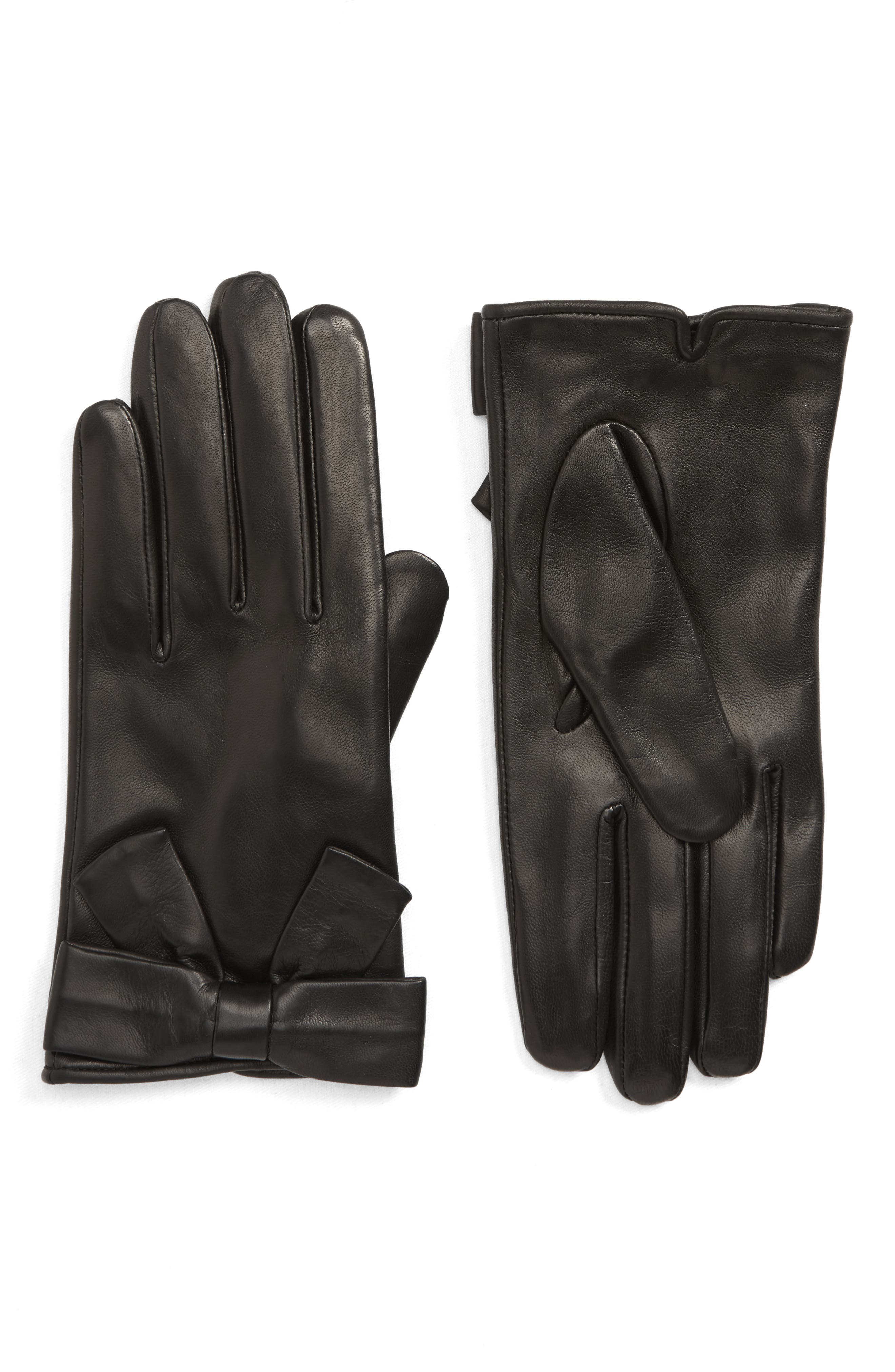 Kate Spade New York Self Knot Bow Leather Gloves
