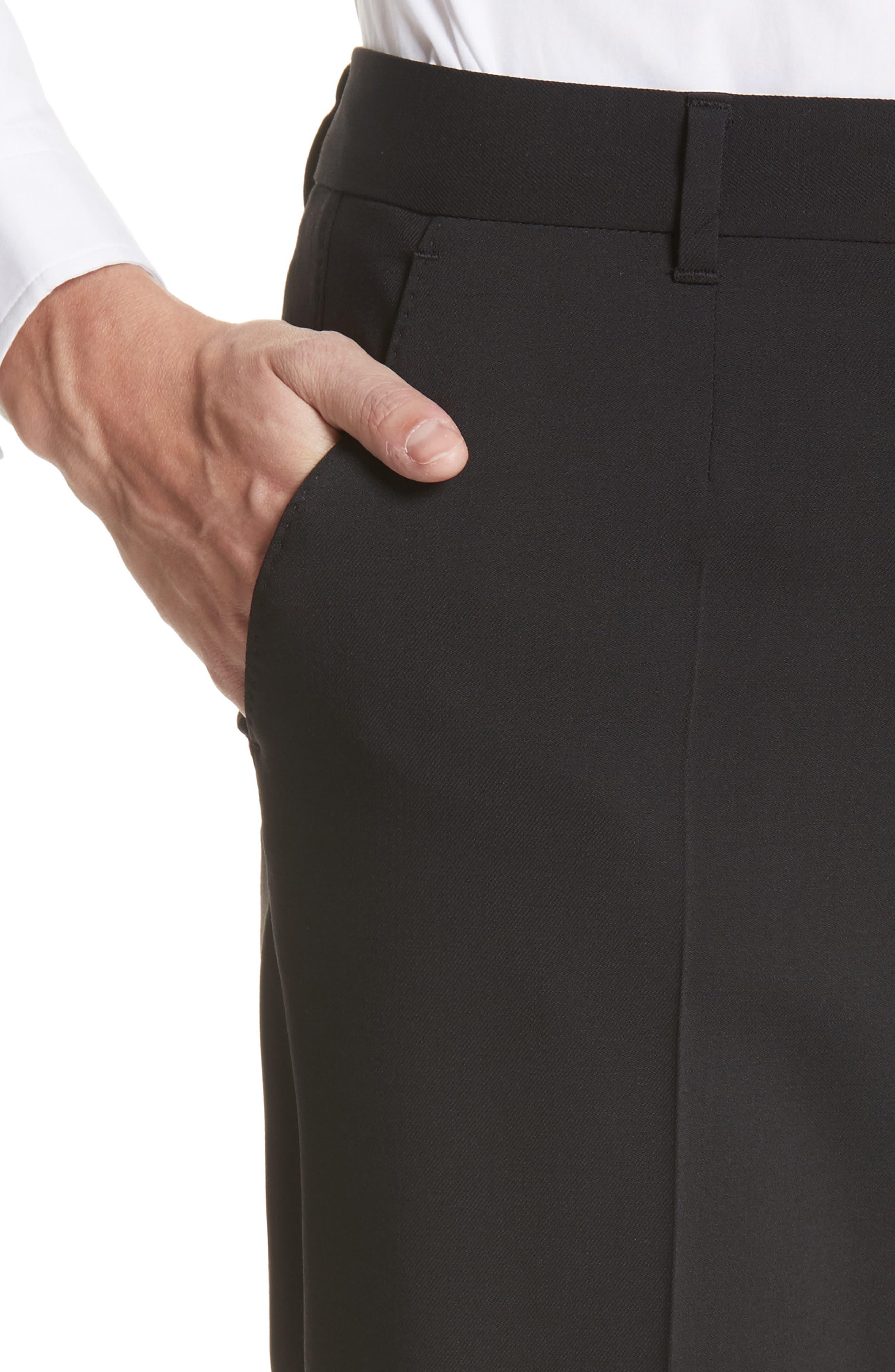 Straight Leg Stretch Wool Trousers,                             Alternate thumbnail 6, color,                             BLACK