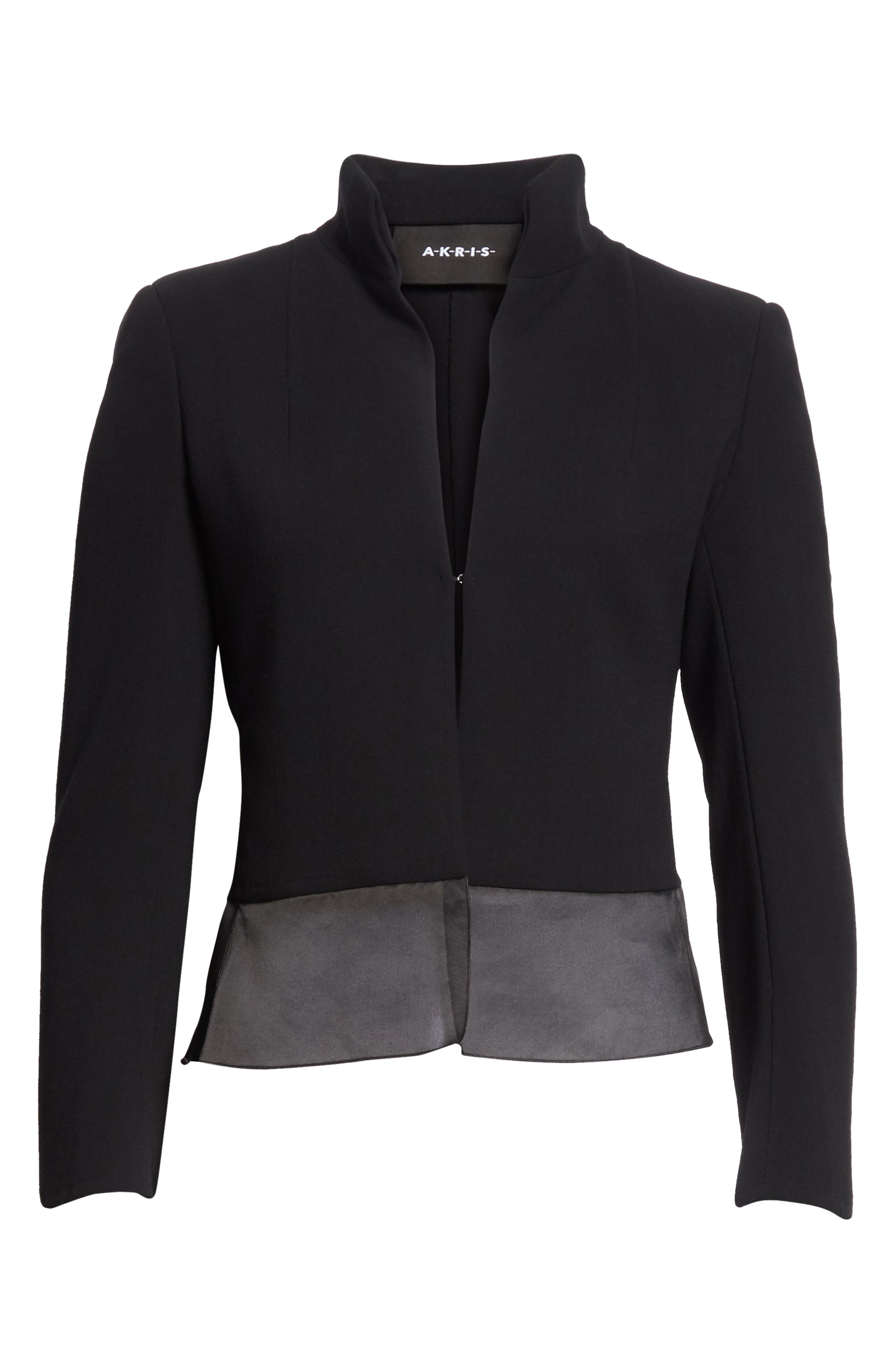 Ilke Double Face Wool Blend Jacket,                             Alternate thumbnail 5, color,                             BLACK