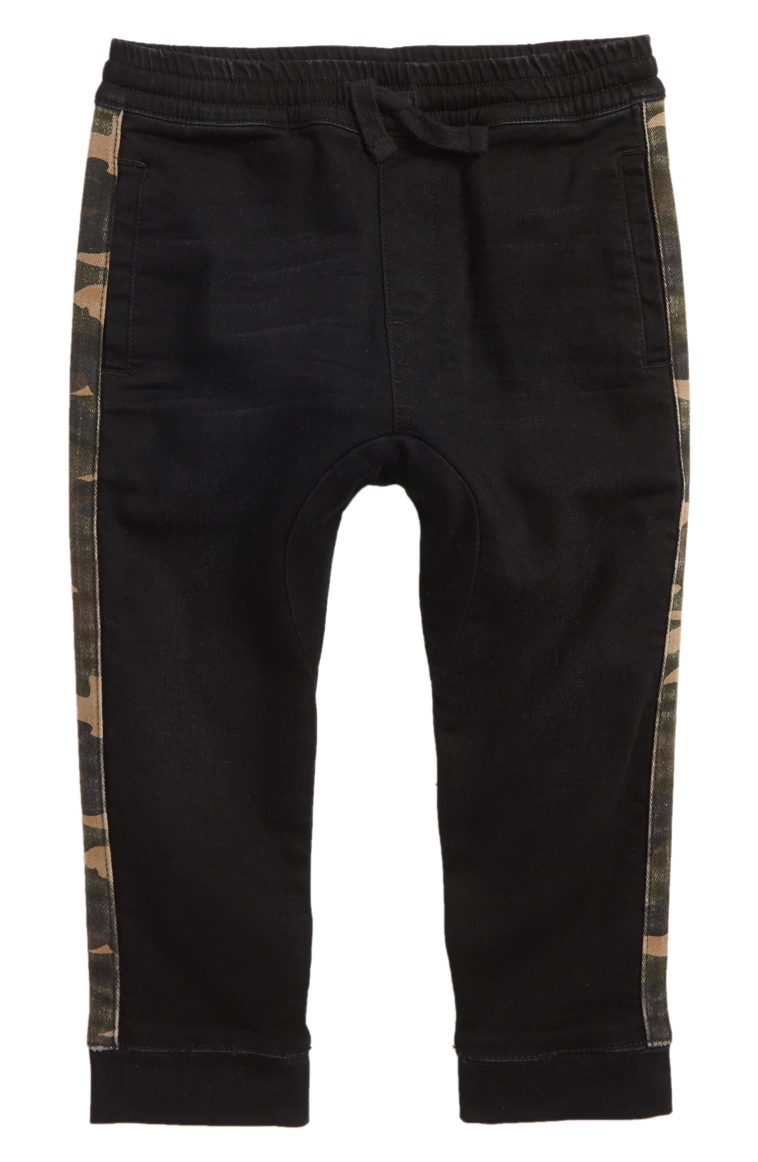 Side Stripe Denim Jogger Pants,                         Main,                         color, 001