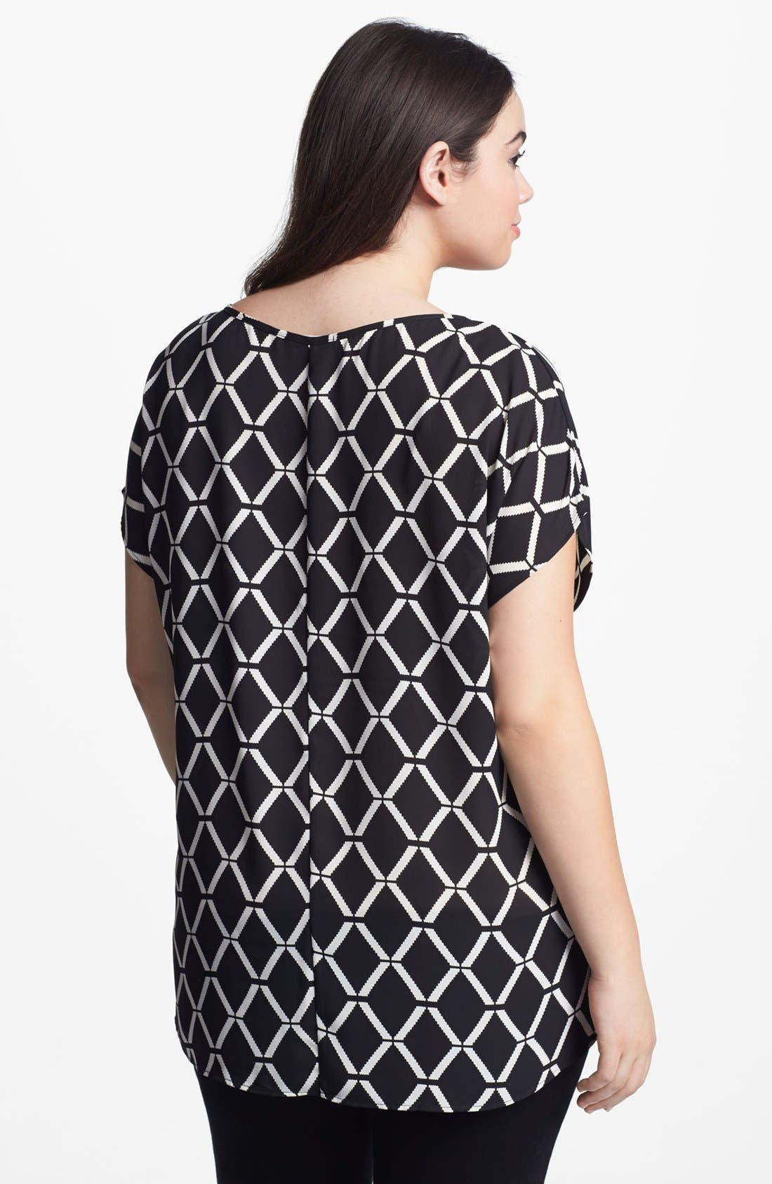 Scoop Neck Woven Tee,                             Alternate thumbnail 2, color,                             001