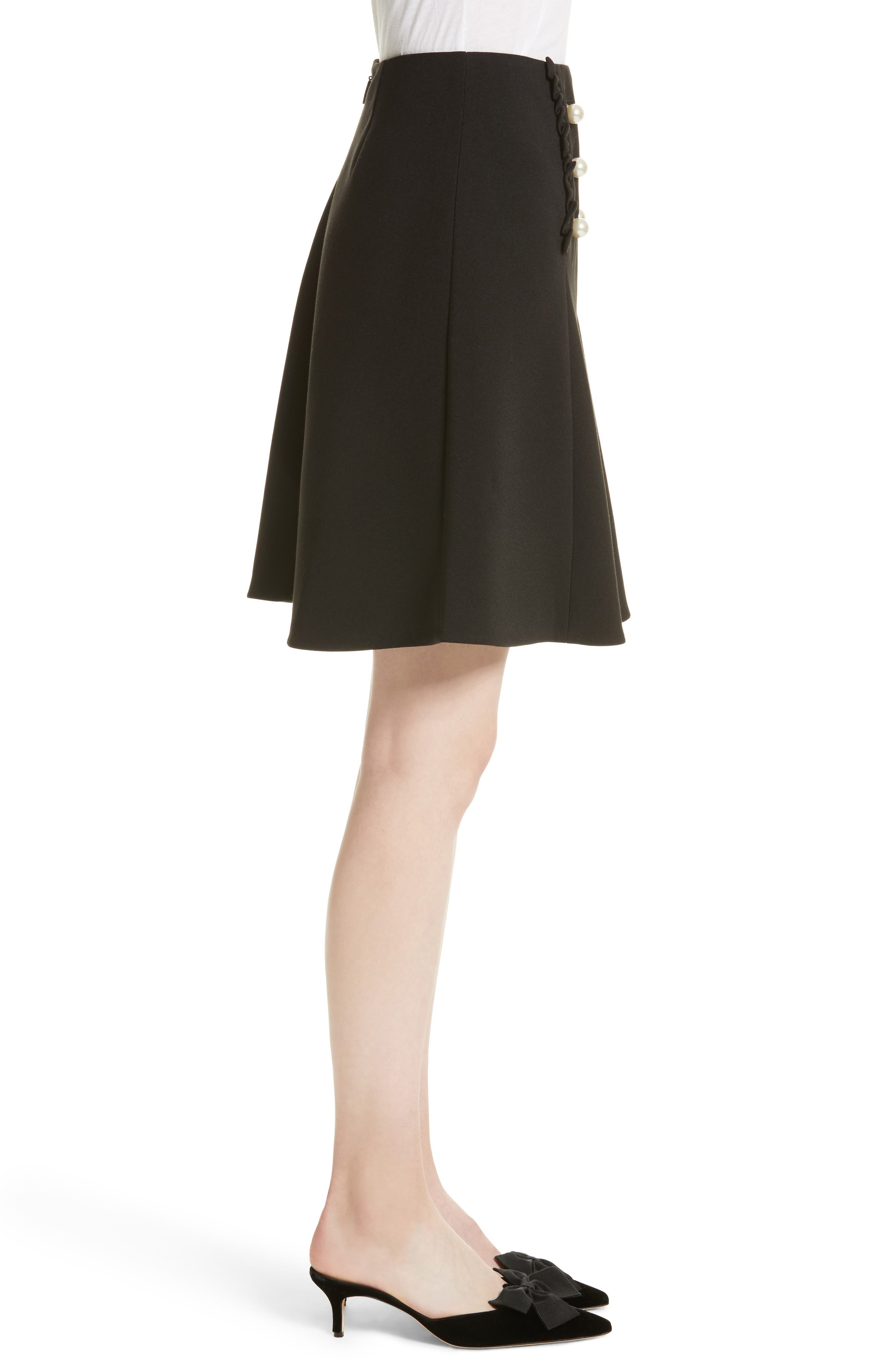 pearly button crepe skirt,                             Alternate thumbnail 3, color,                             001