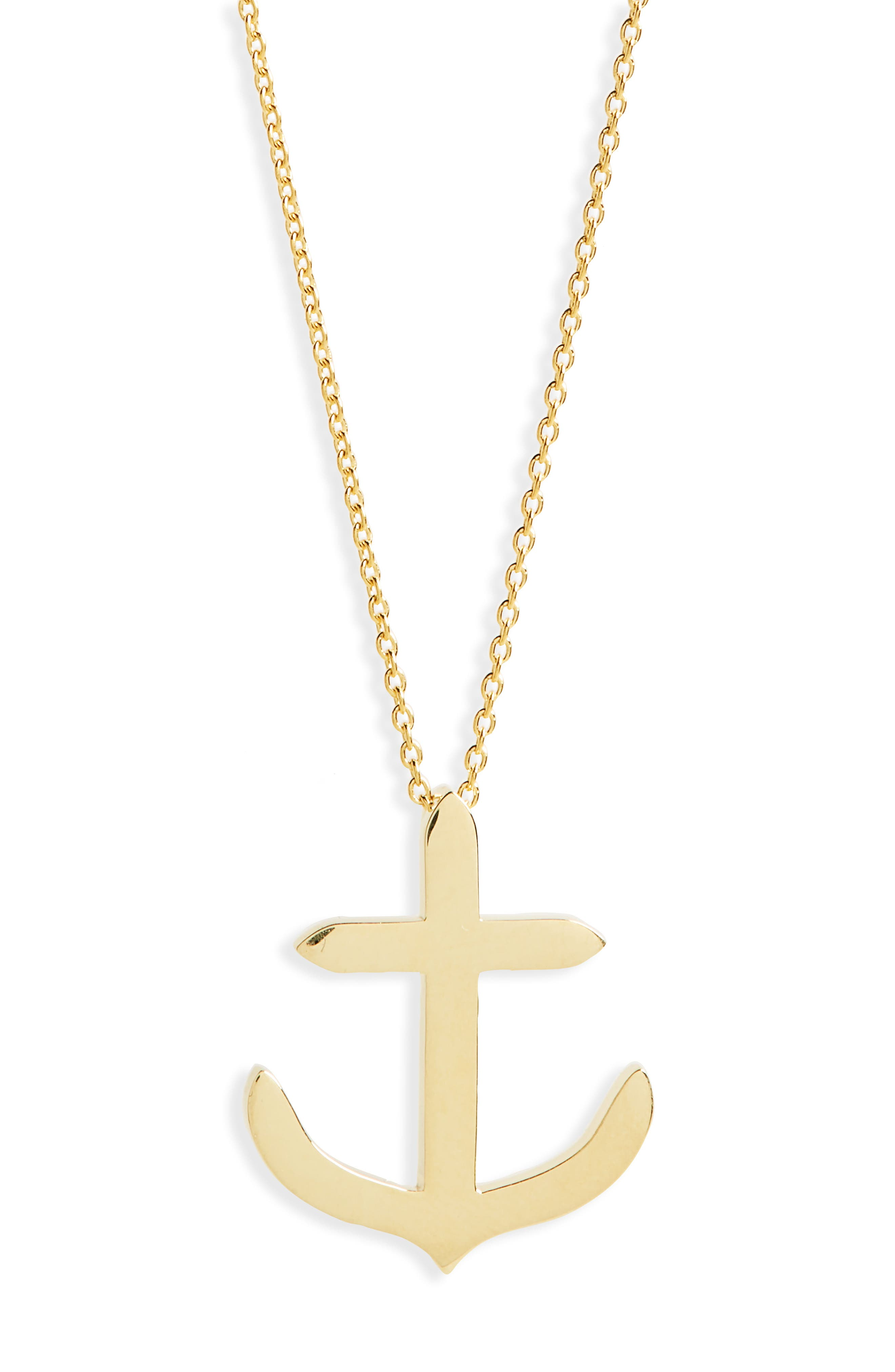 Anchor Necklace,                             Main thumbnail 1, color,                             YELLOW GOLD