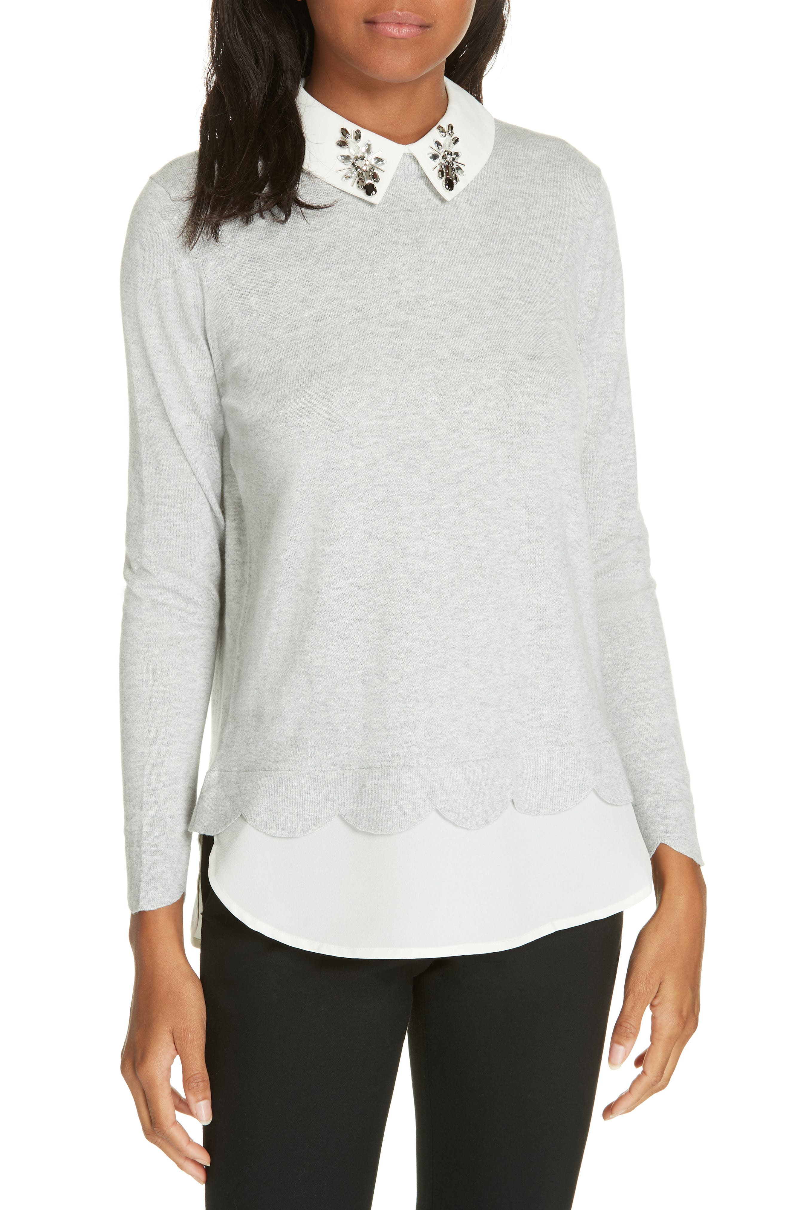 Suzaine Layered Sweater,                             Main thumbnail 1, color,                             GREY