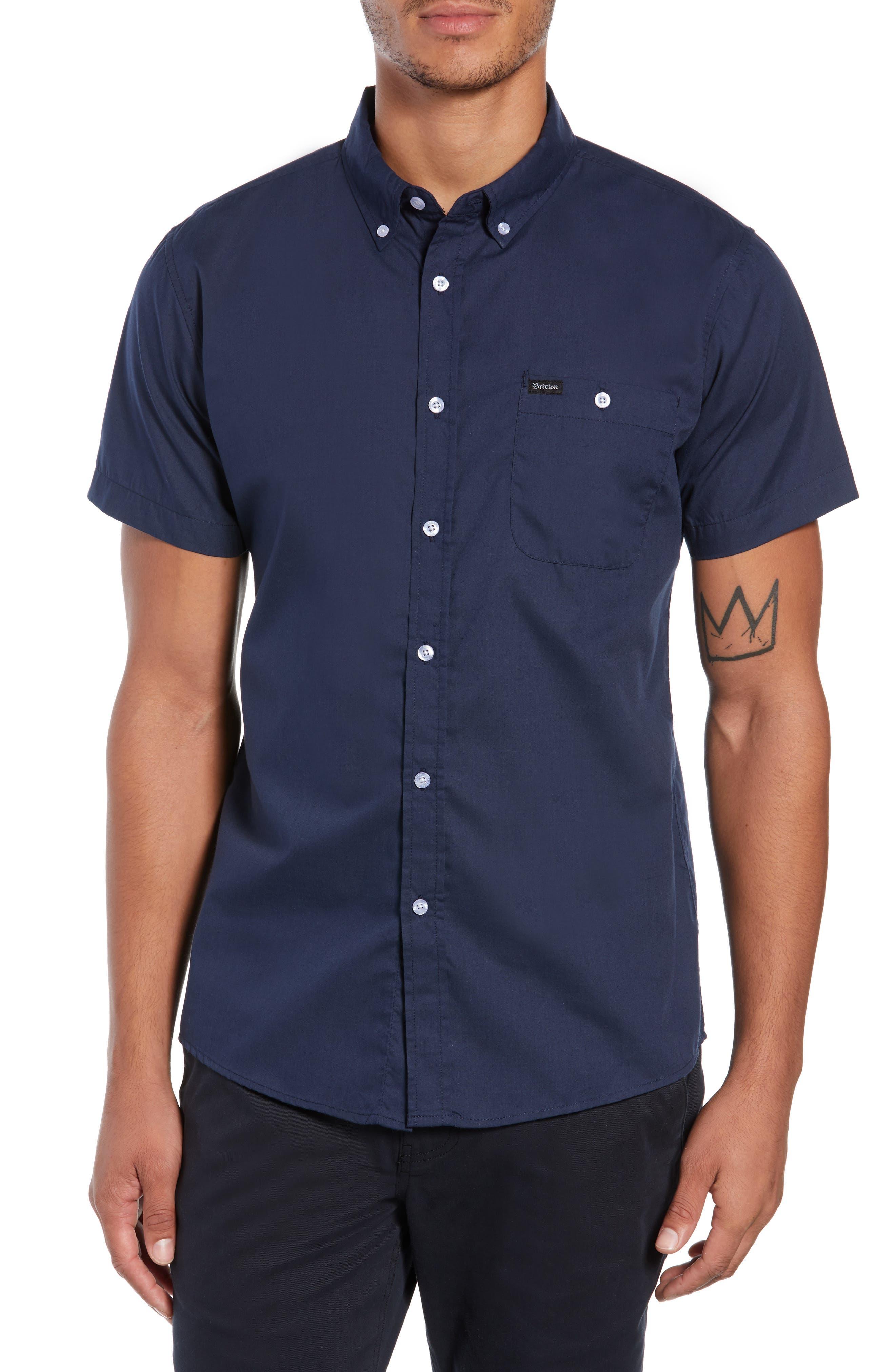 Howl Woven Shirt,                         Main,                         color, NAVY