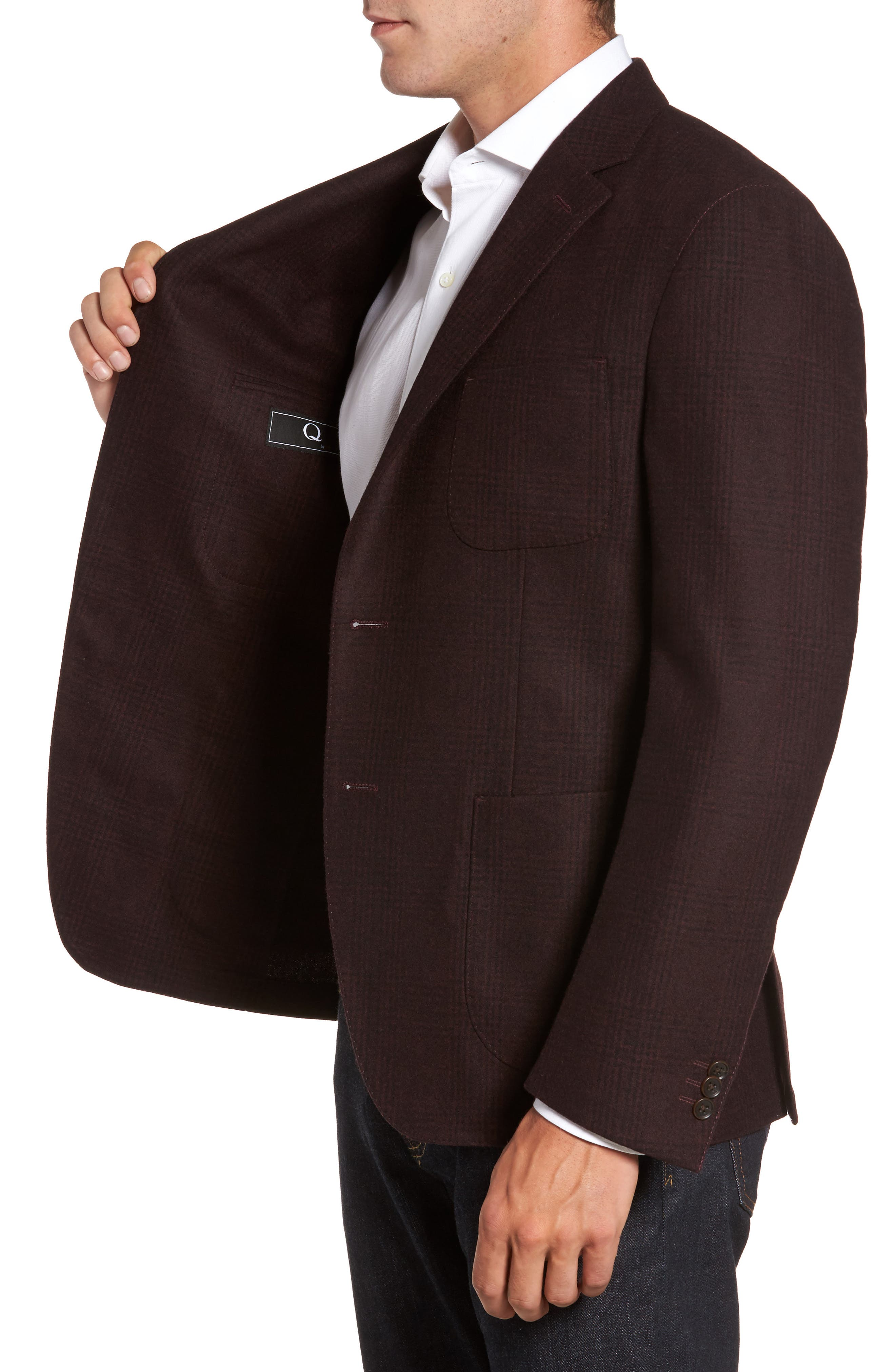 Classic Fit Plaid Merino Wool Jersey Sport Coat,                             Alternate thumbnail 3, color,                             930