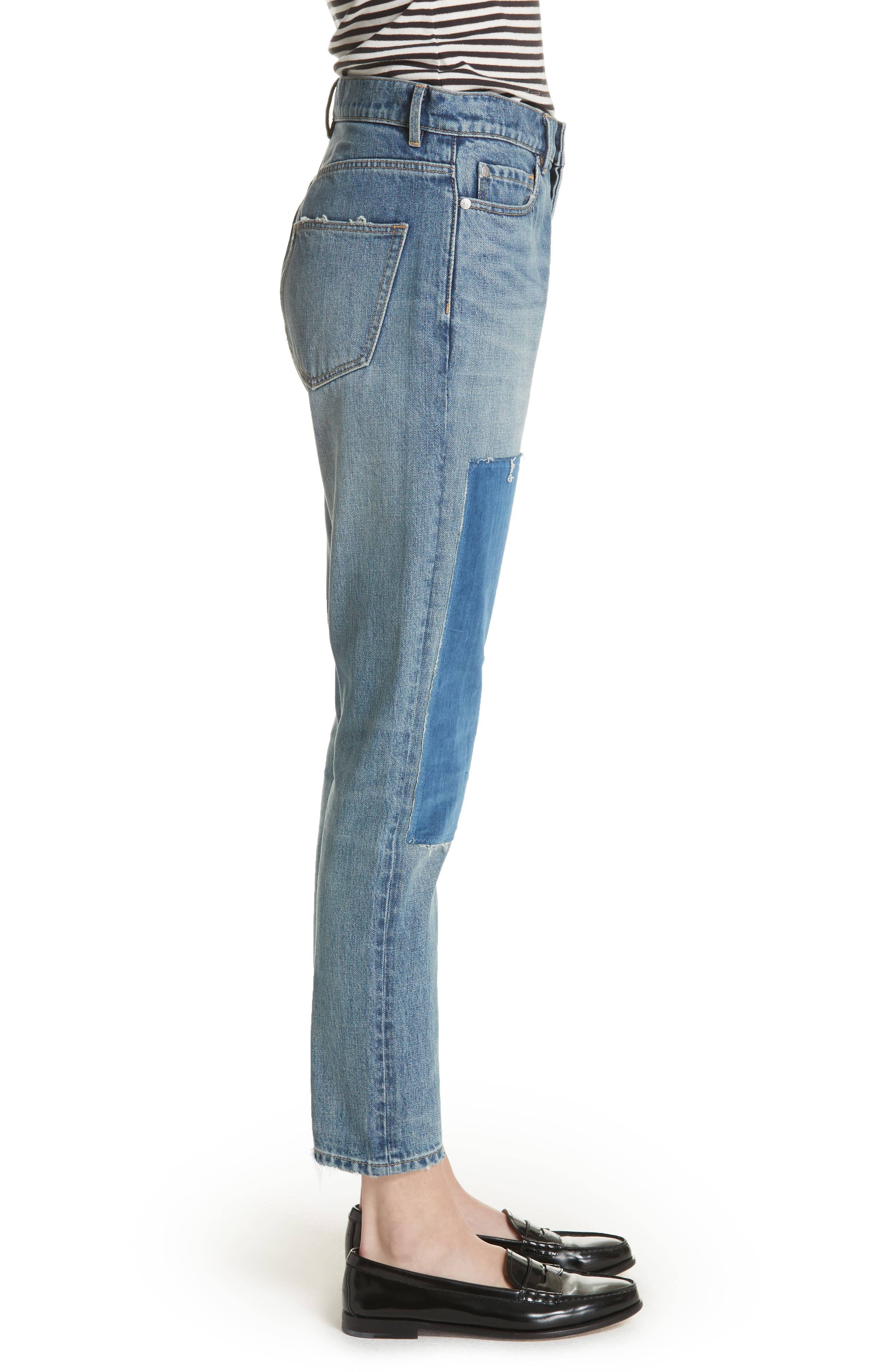 Patched Velvet & Rigid Denim Jeans,                             Alternate thumbnail 3, color,