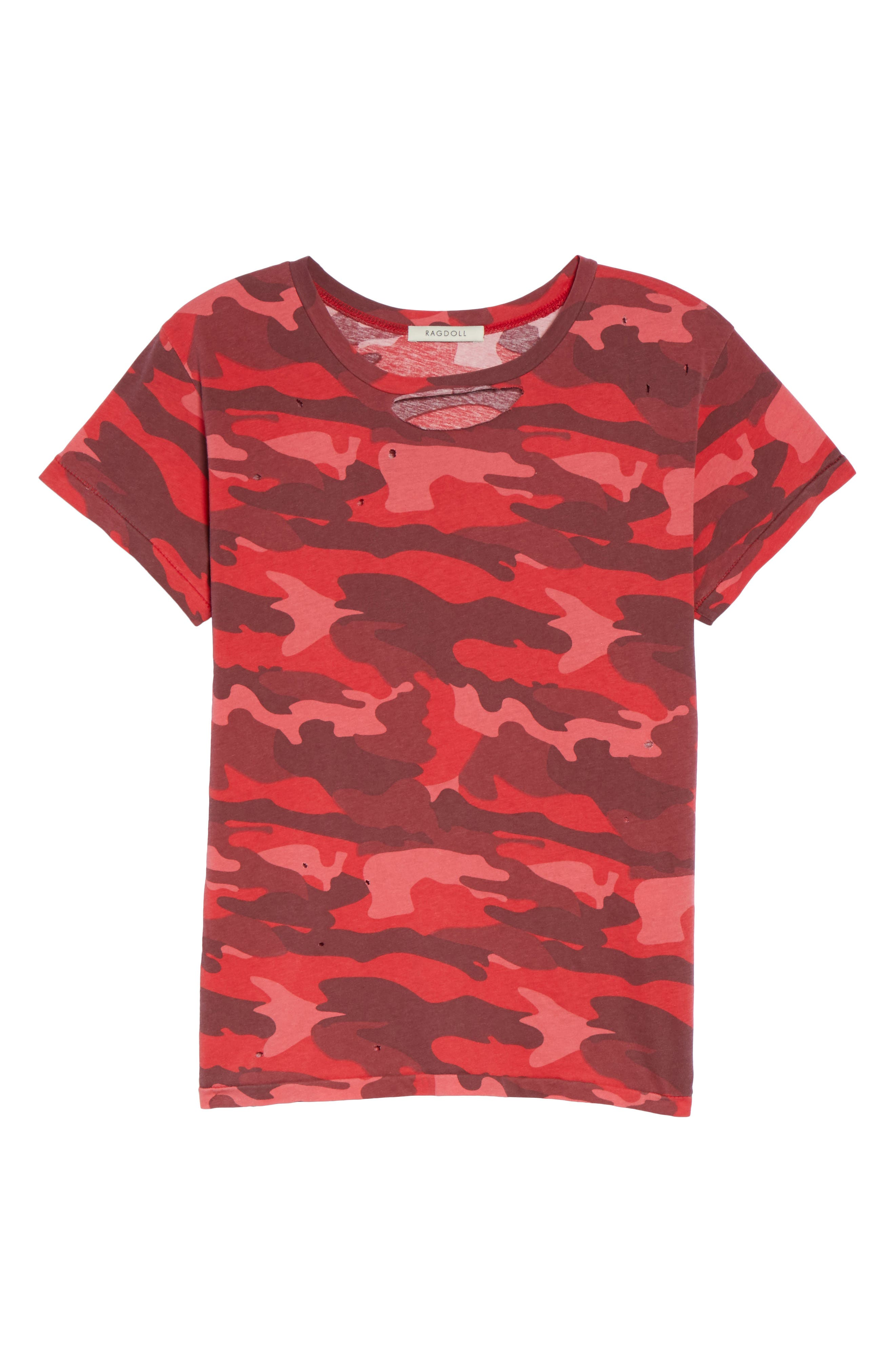 Distressed Camo Tee,                             Alternate thumbnail 6, color,                             600