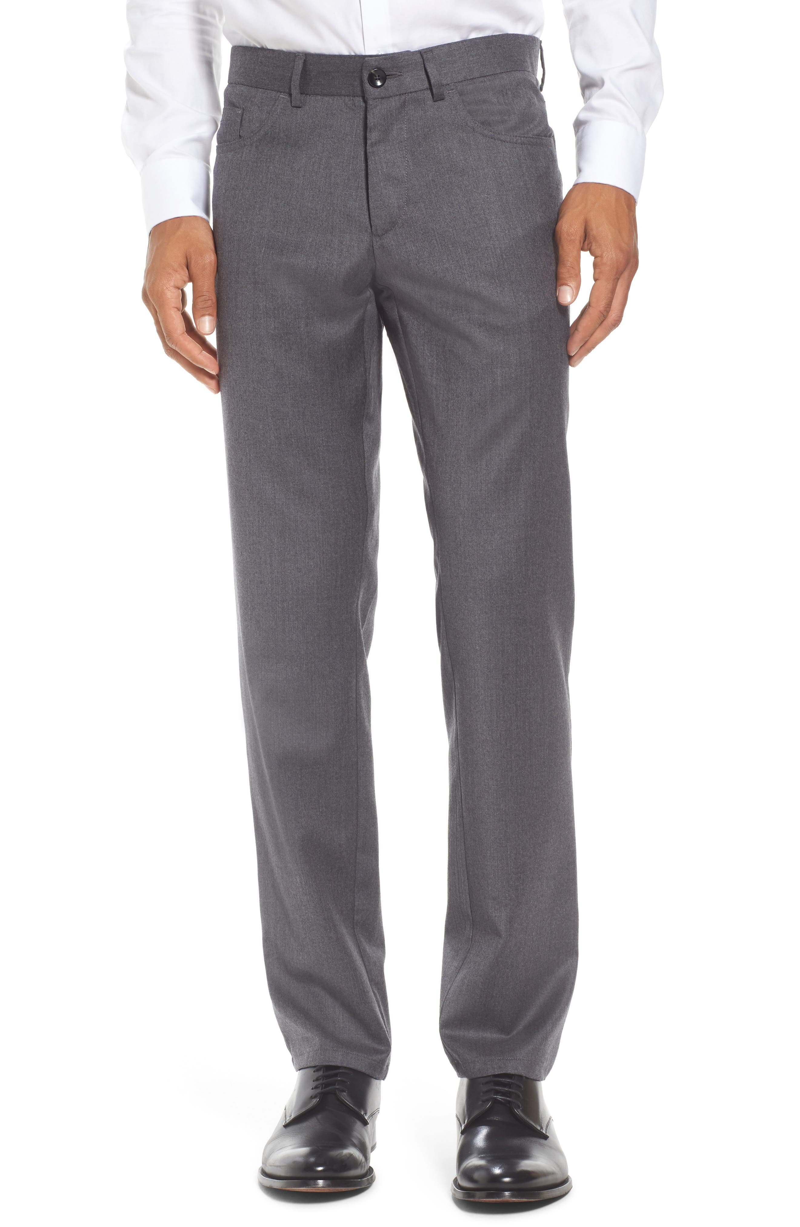 Flat Front Solid Stretch Wool Trousers,                             Main thumbnail 1, color,                             020
