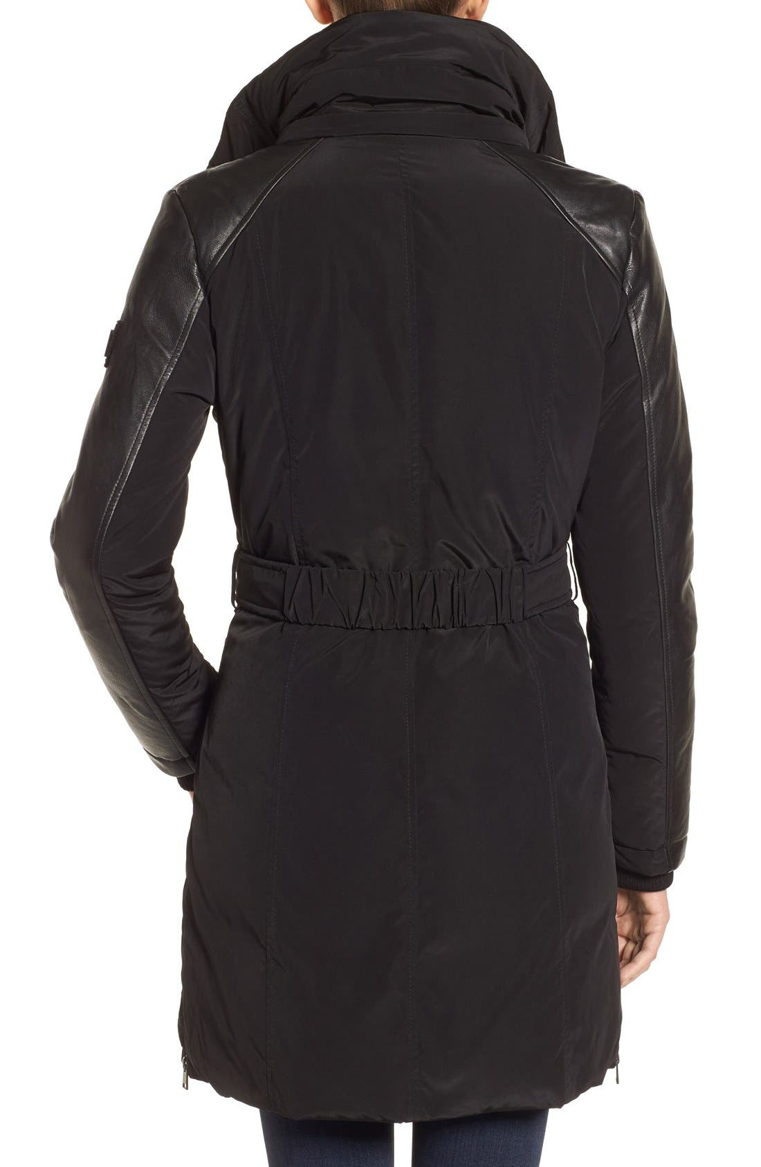 Asymmetrical Hooded Down Coat with Genuine Leather Trim,                             Alternate thumbnail 2, color,                             001