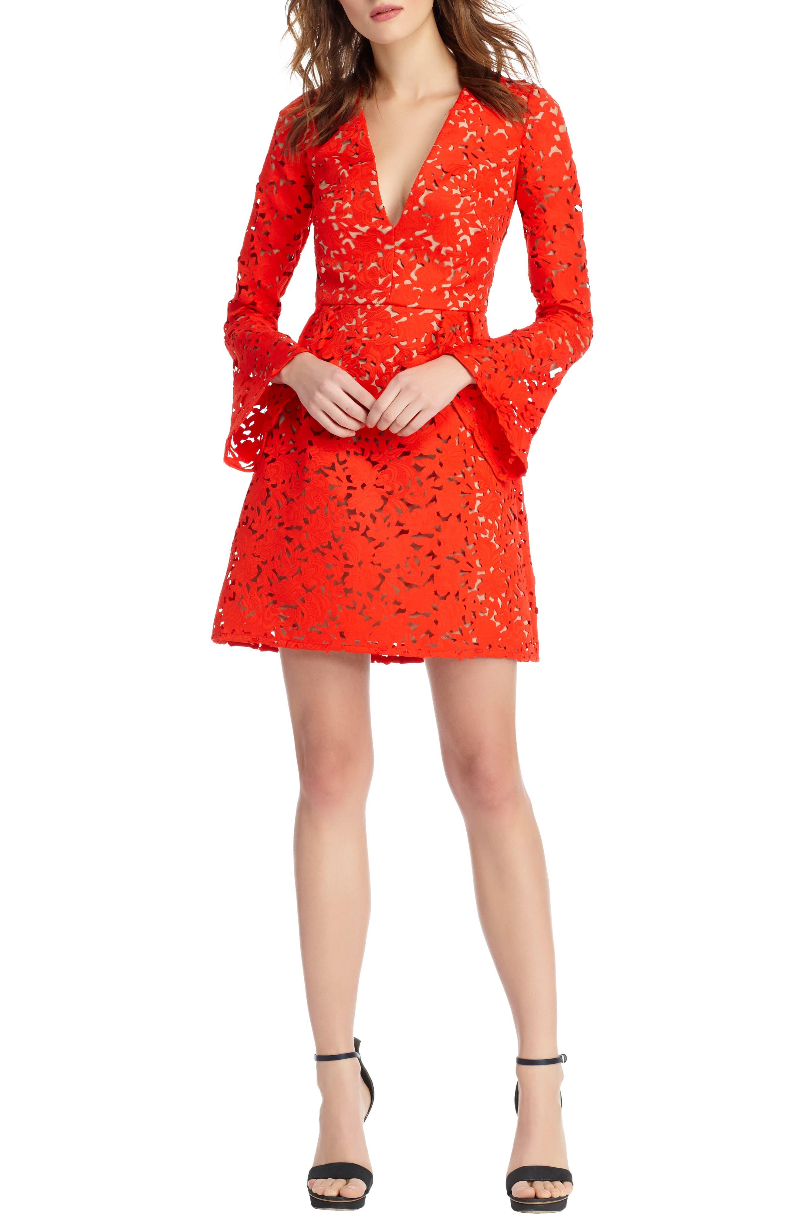 Lazercut Bell Sleeve Fit & Flare Dress,                             Alternate thumbnail 5, color,                             643
