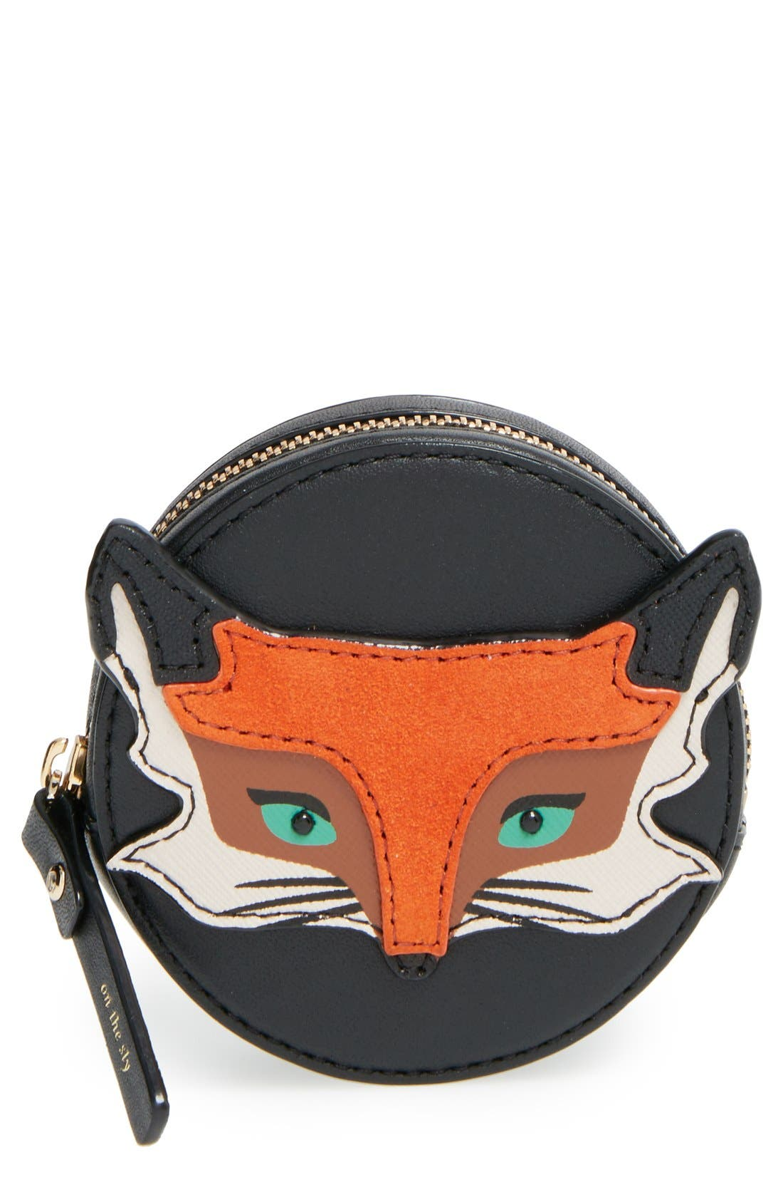 KATE SPADE NEW YORK kate spade new york 'blaze a trail - fox' leather coin purse, Main, color, 001